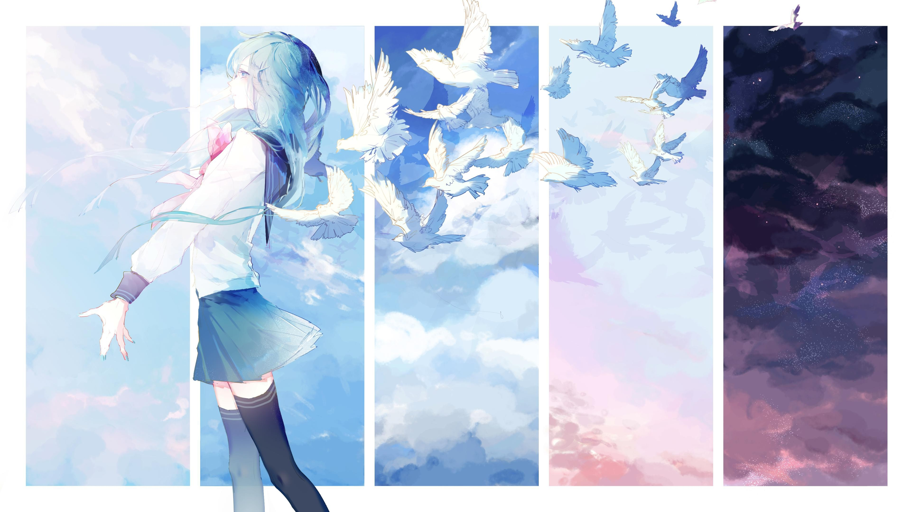 Wallpaper Anime girl with pigeons