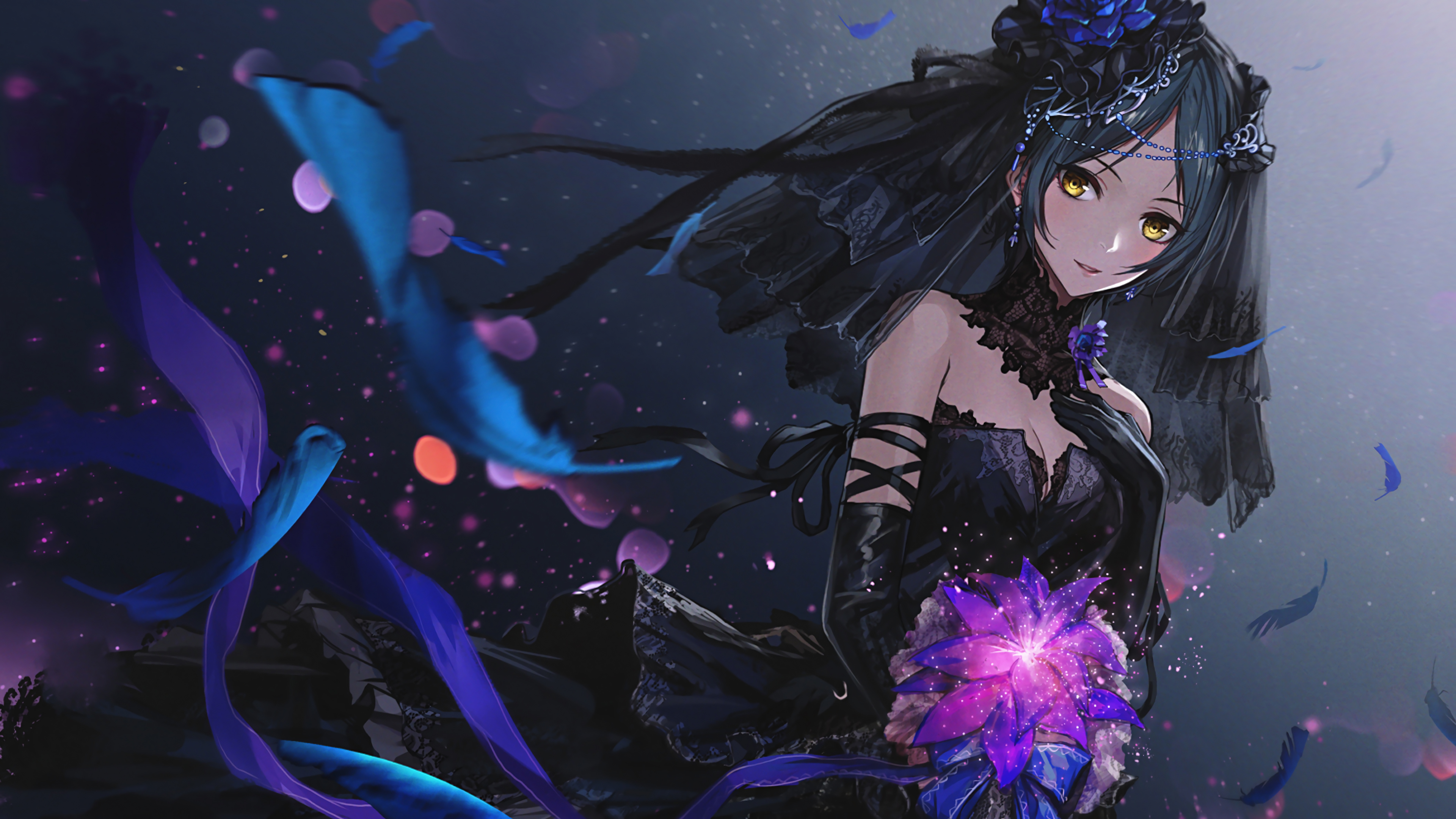 Fondos de pantalla Chica anime con vestido negro