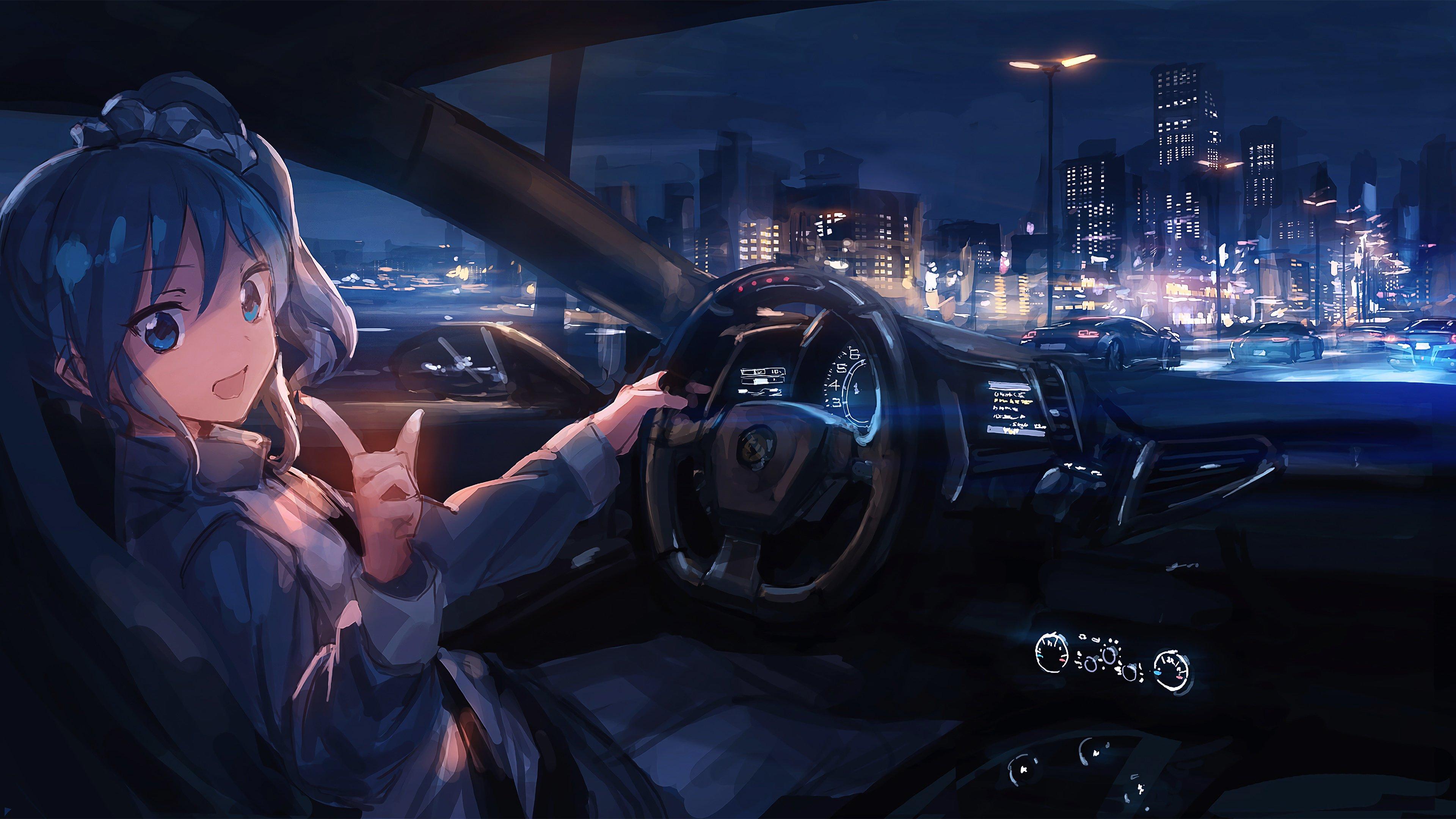 Wallpaper Anime girl driving