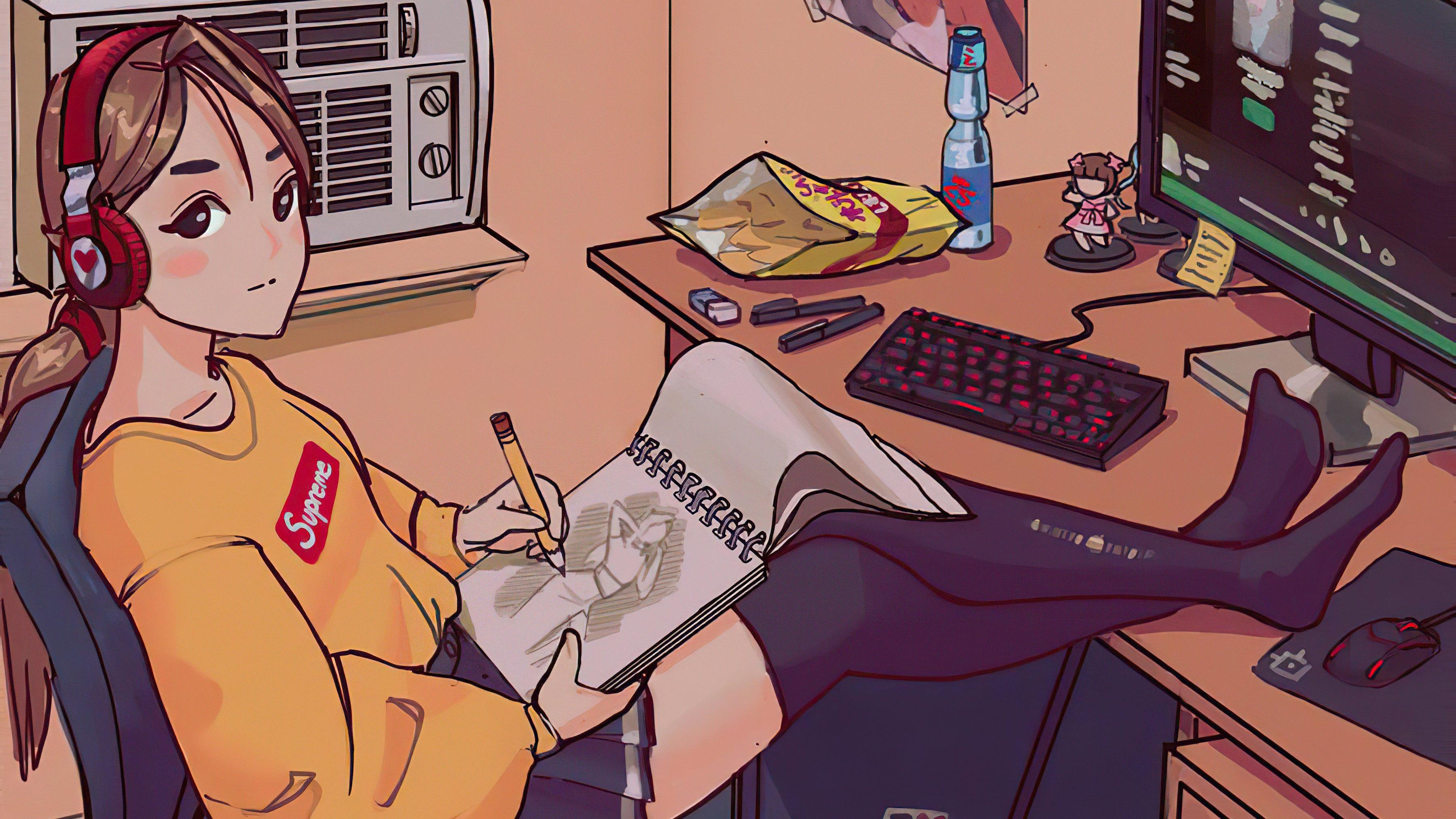 Fondos de pantalla Chica Anime dibujando