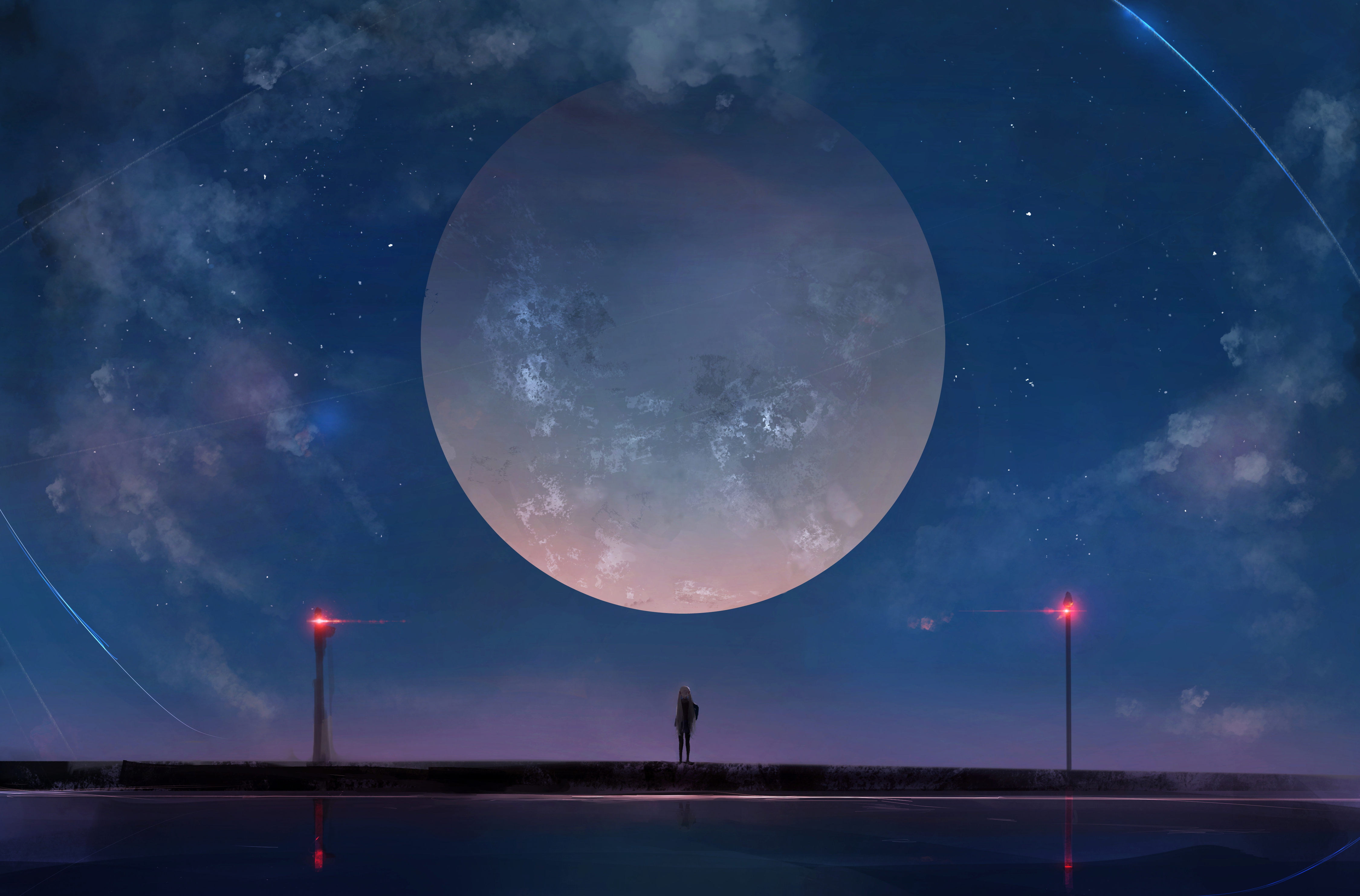 Wallpaper Anime girl at night with moon