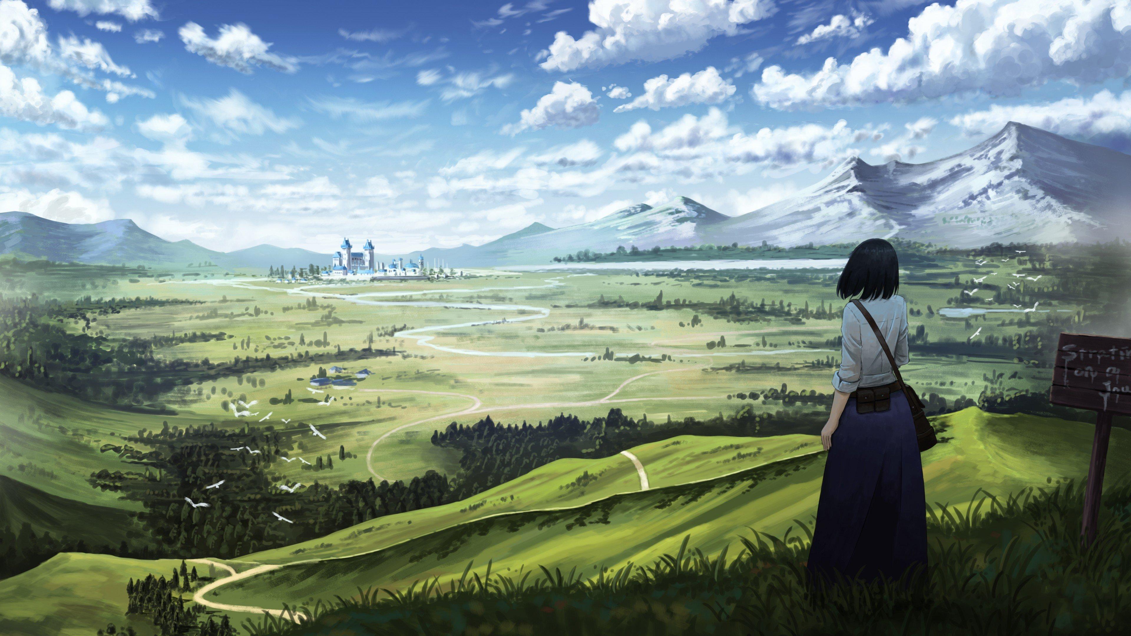 Anime Girl In Landscape Wallpaper 4k Ultra Hd Id 3730