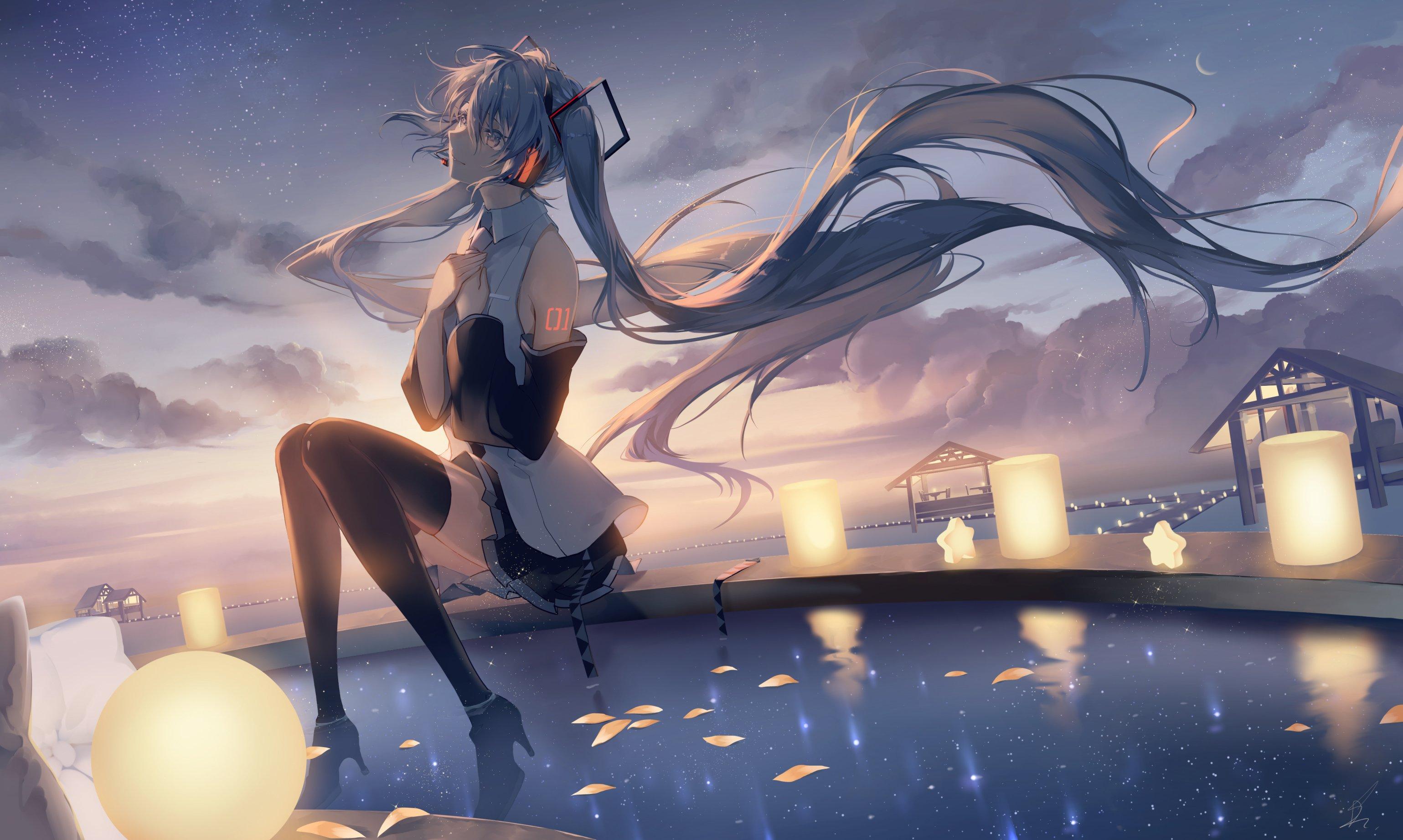 Fondos de pantalla Chica Anime Hatsune Miku escuchando musica