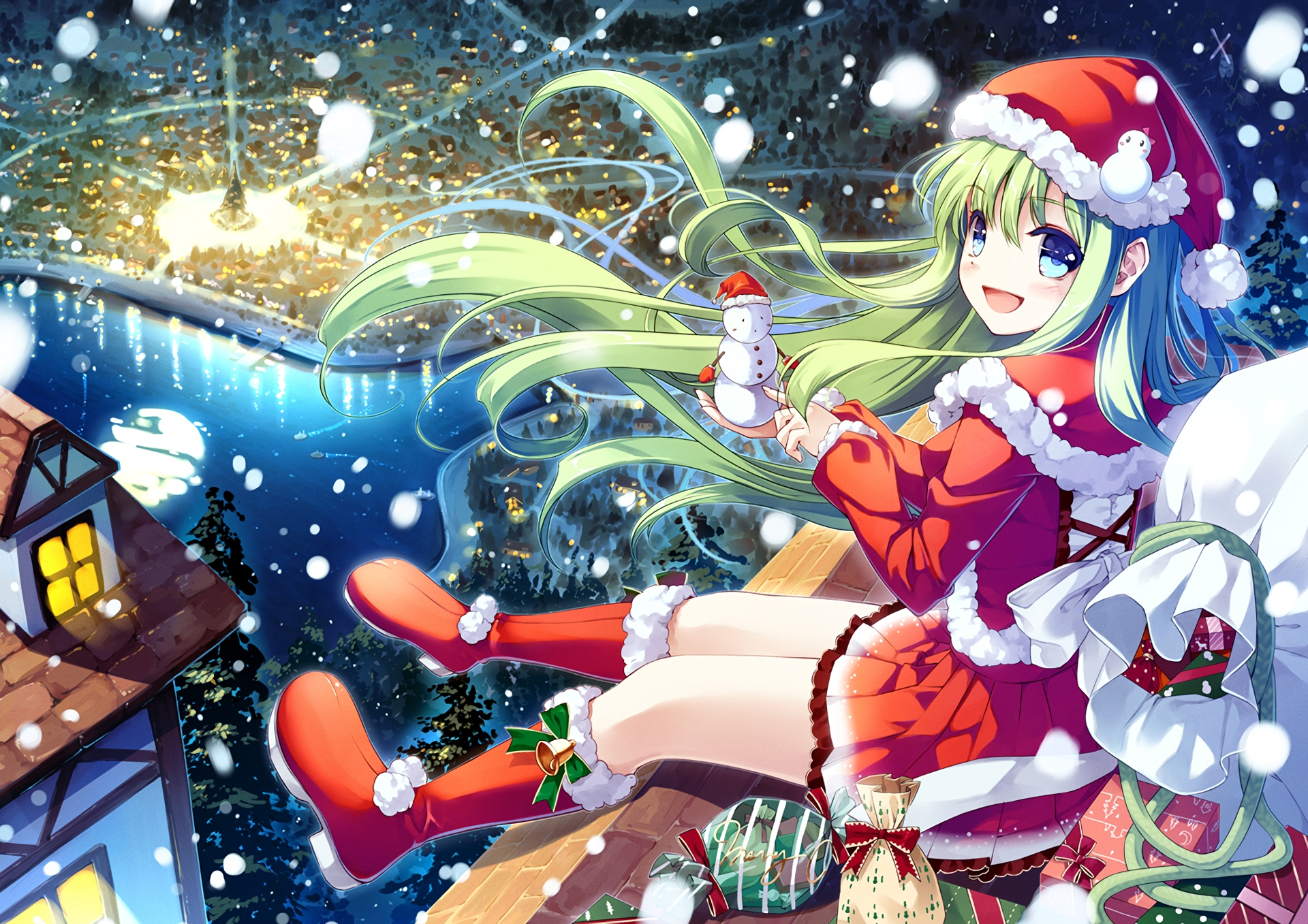 Wallpaper Anime Girl Christmas