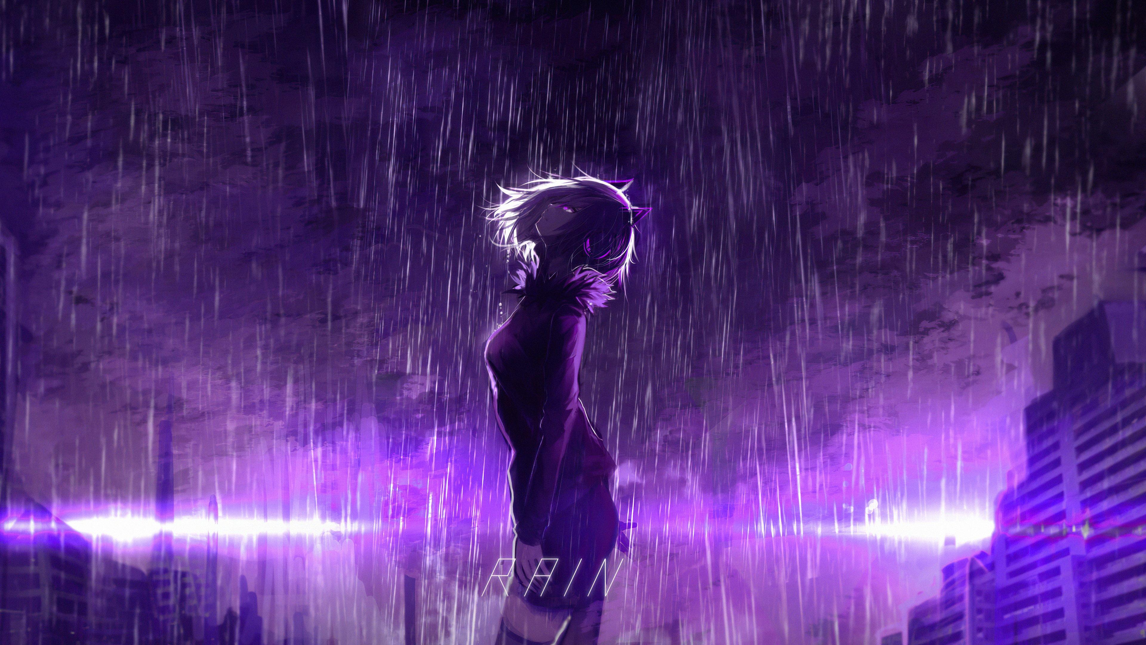 Fondos de pantalla Chica bajo lluvia morada