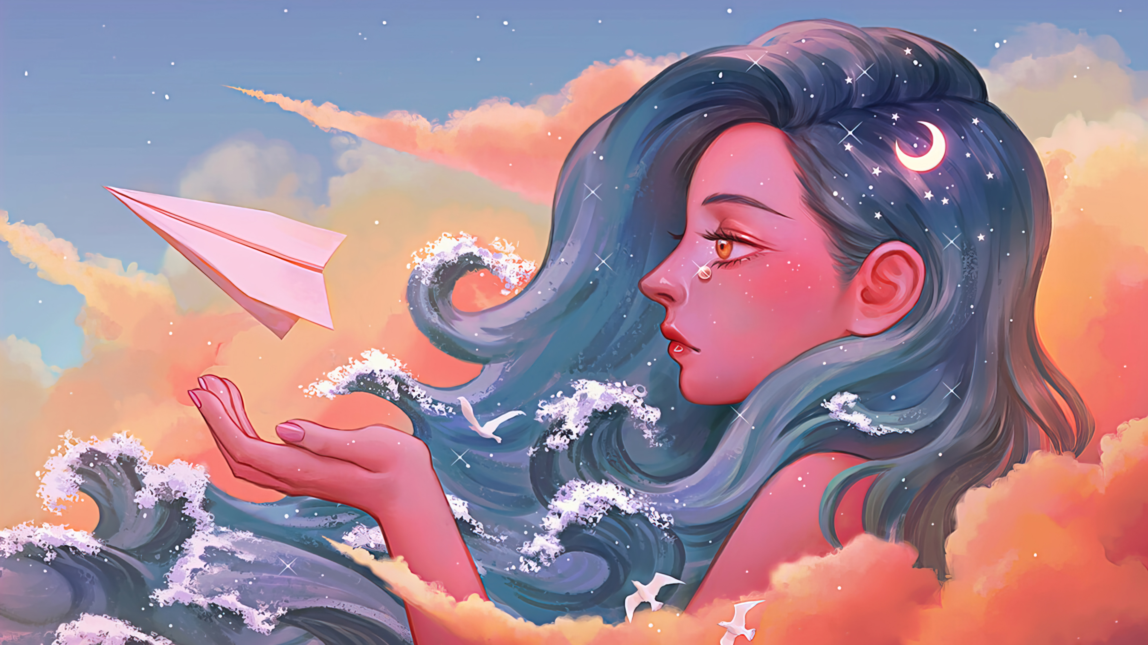 Wallpaper Girl with hair as waves and paper plane