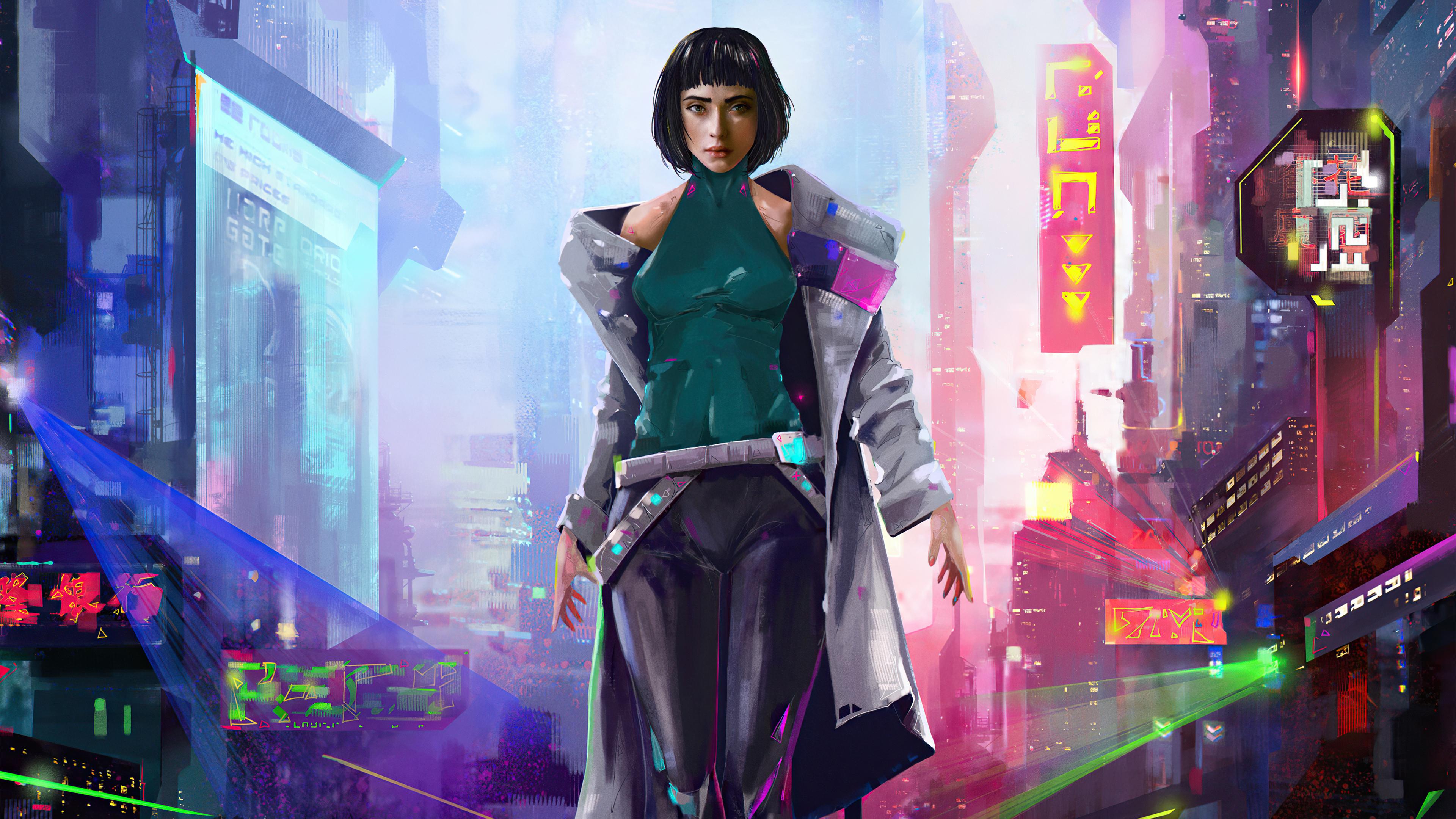 Wallpaper Girl with short hair Cyberpunk