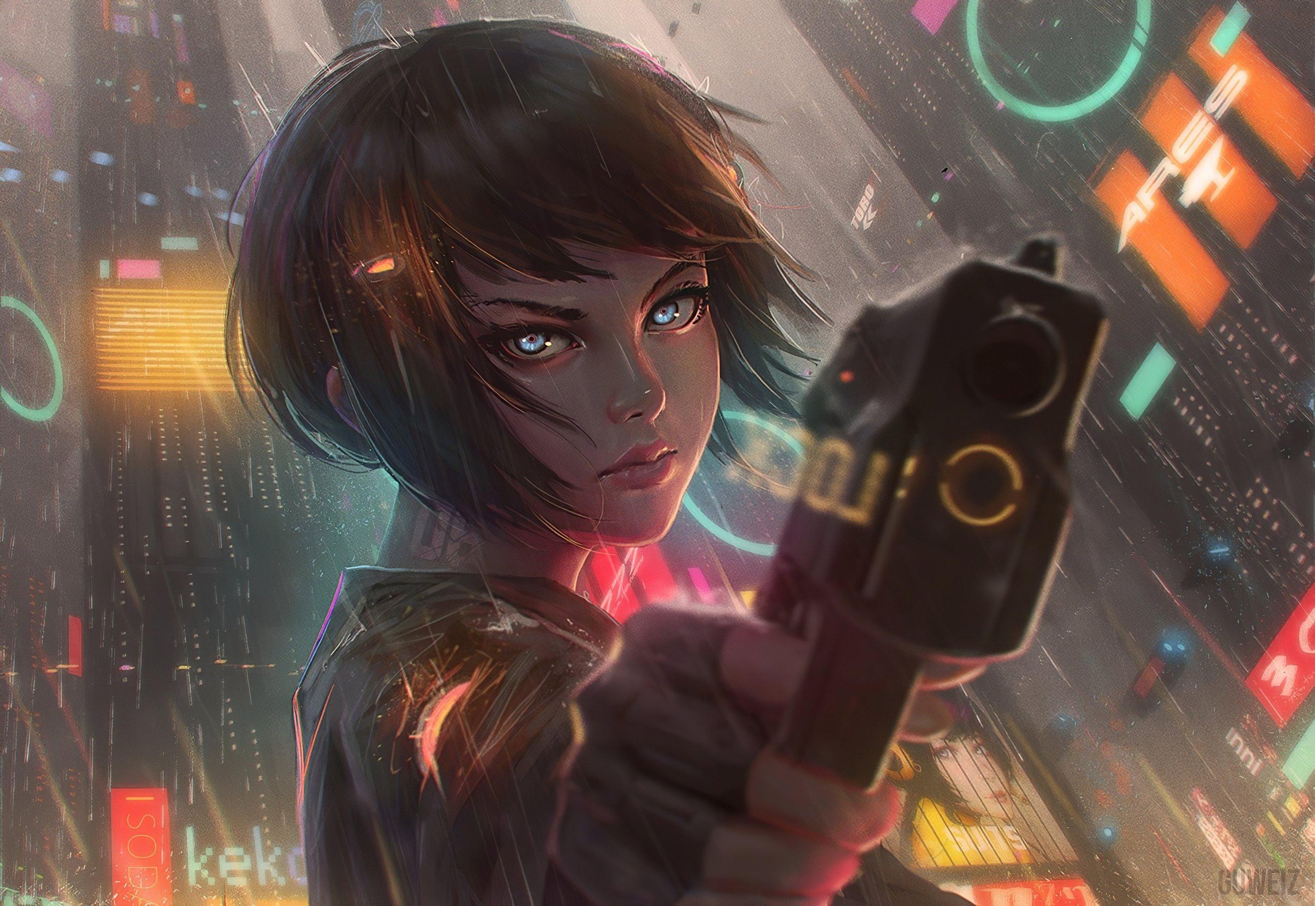 Fondos de pantalla Chica con cabello corto lista para disparar estilo anime