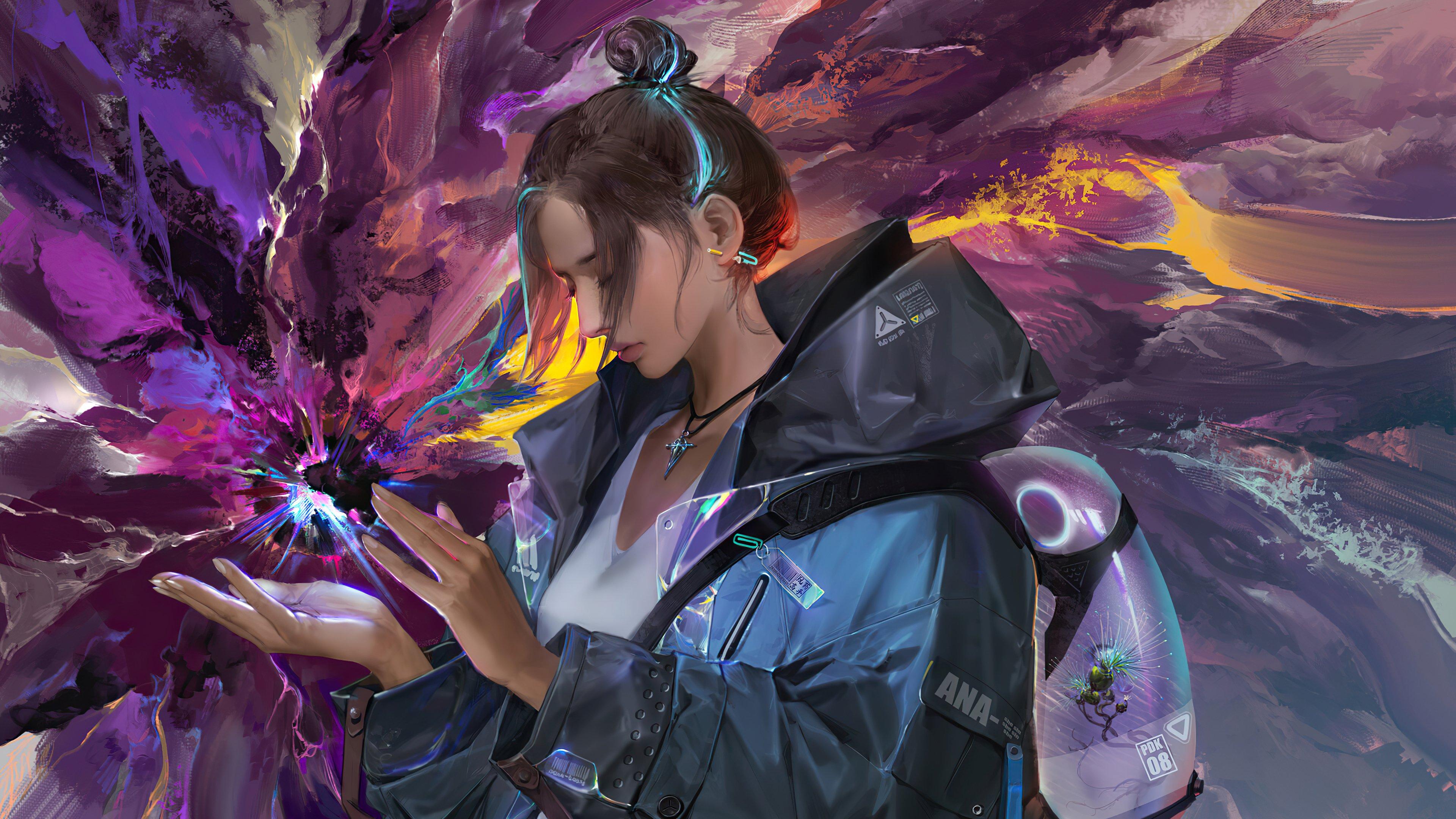 Fondos de pantalla Chica con fondo en fusión de colores