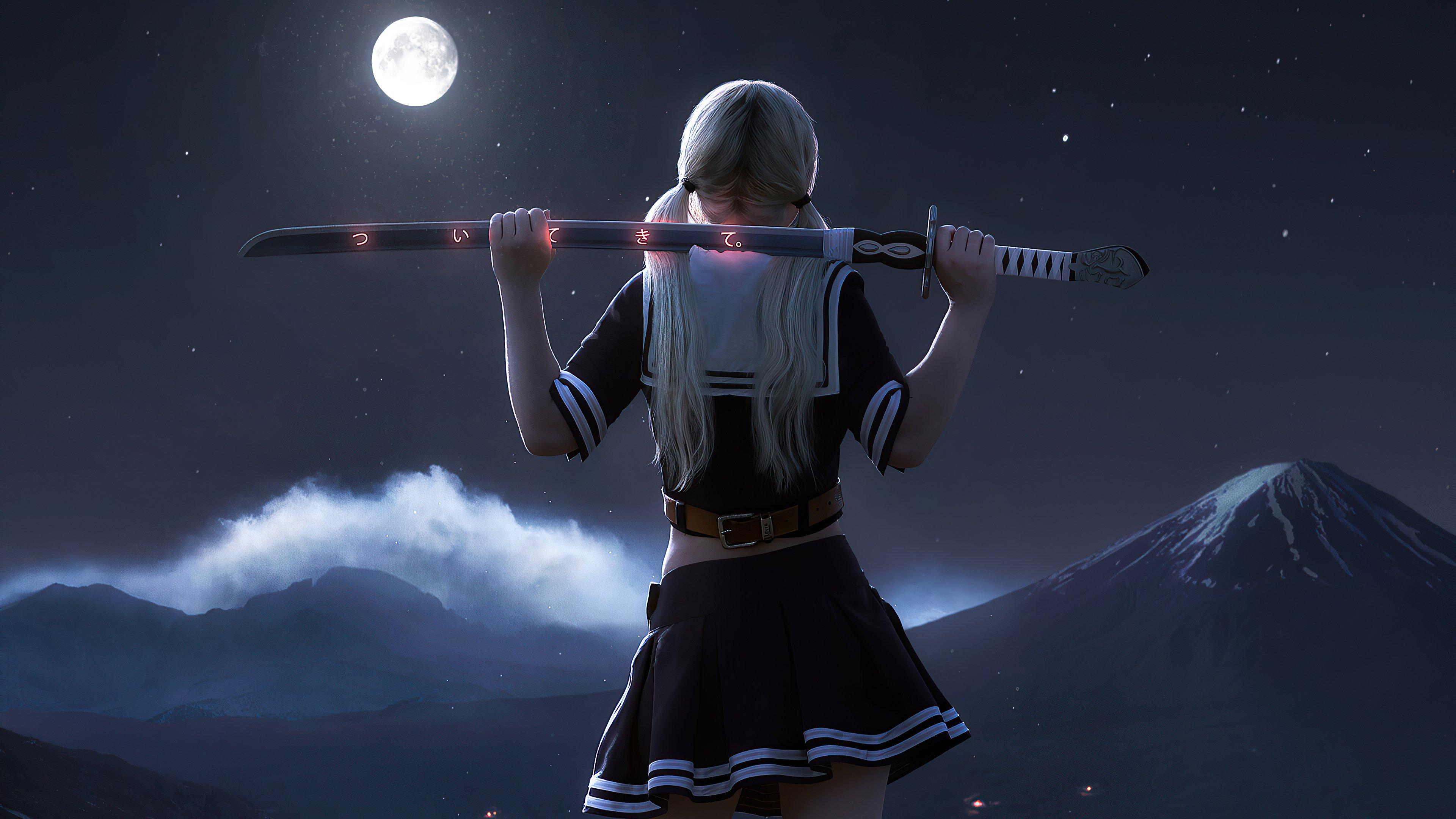 Fondos de pantalla Anime Chica con katana a la luz de la luna