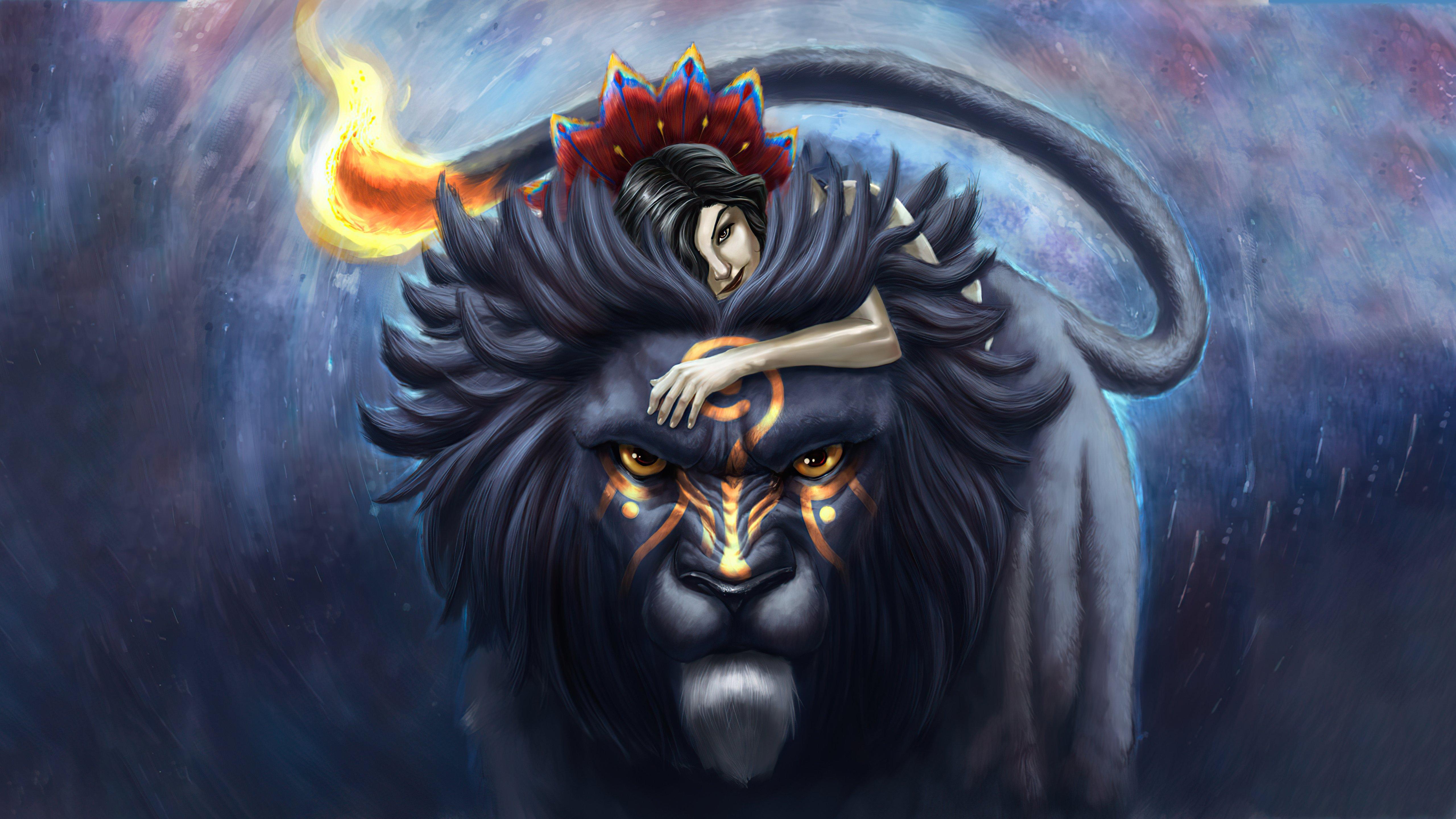 Fondos de pantalla Chica con león