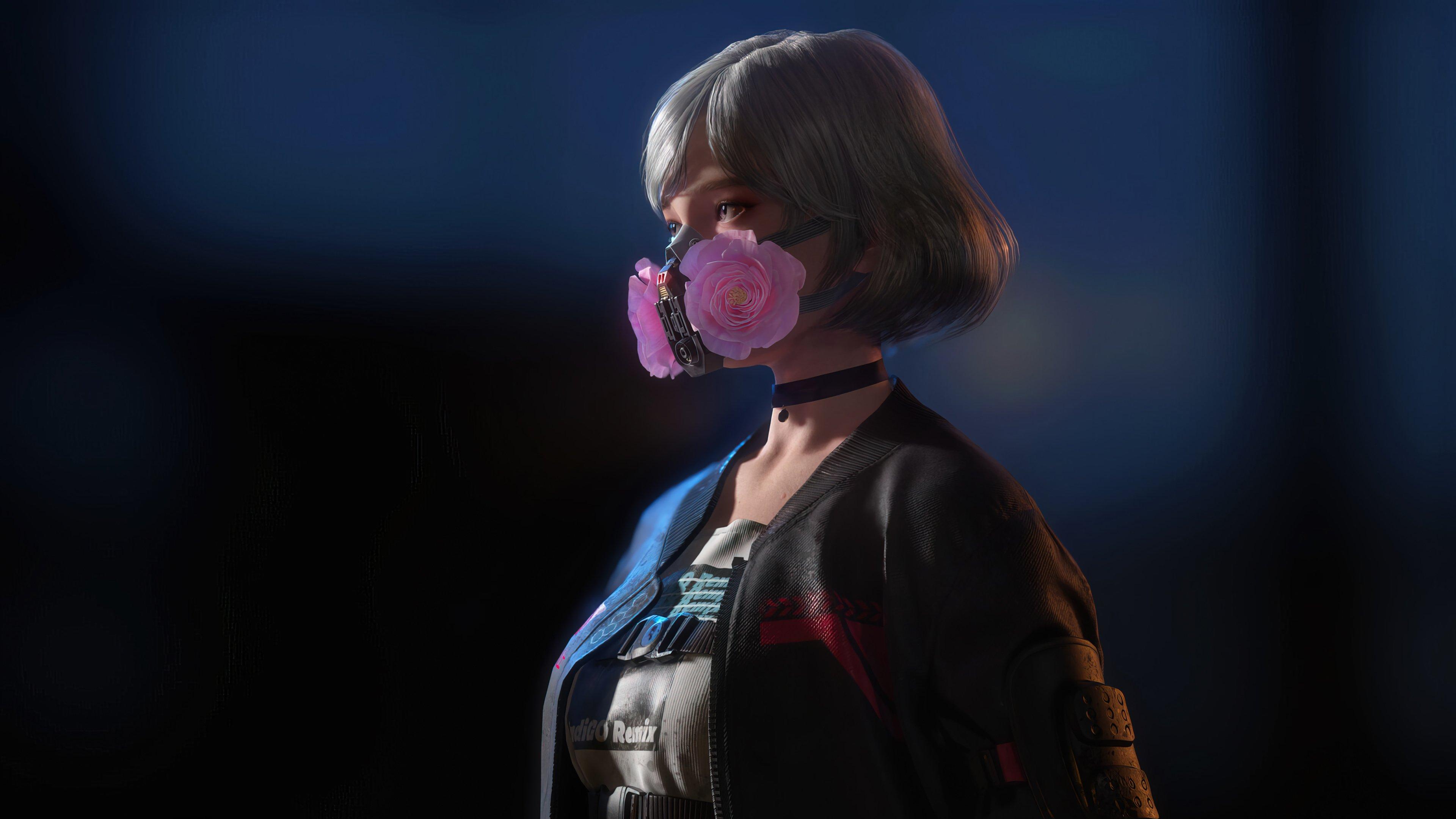 Fondos de pantalla Chica con mascarilla de gas Cyberpunk