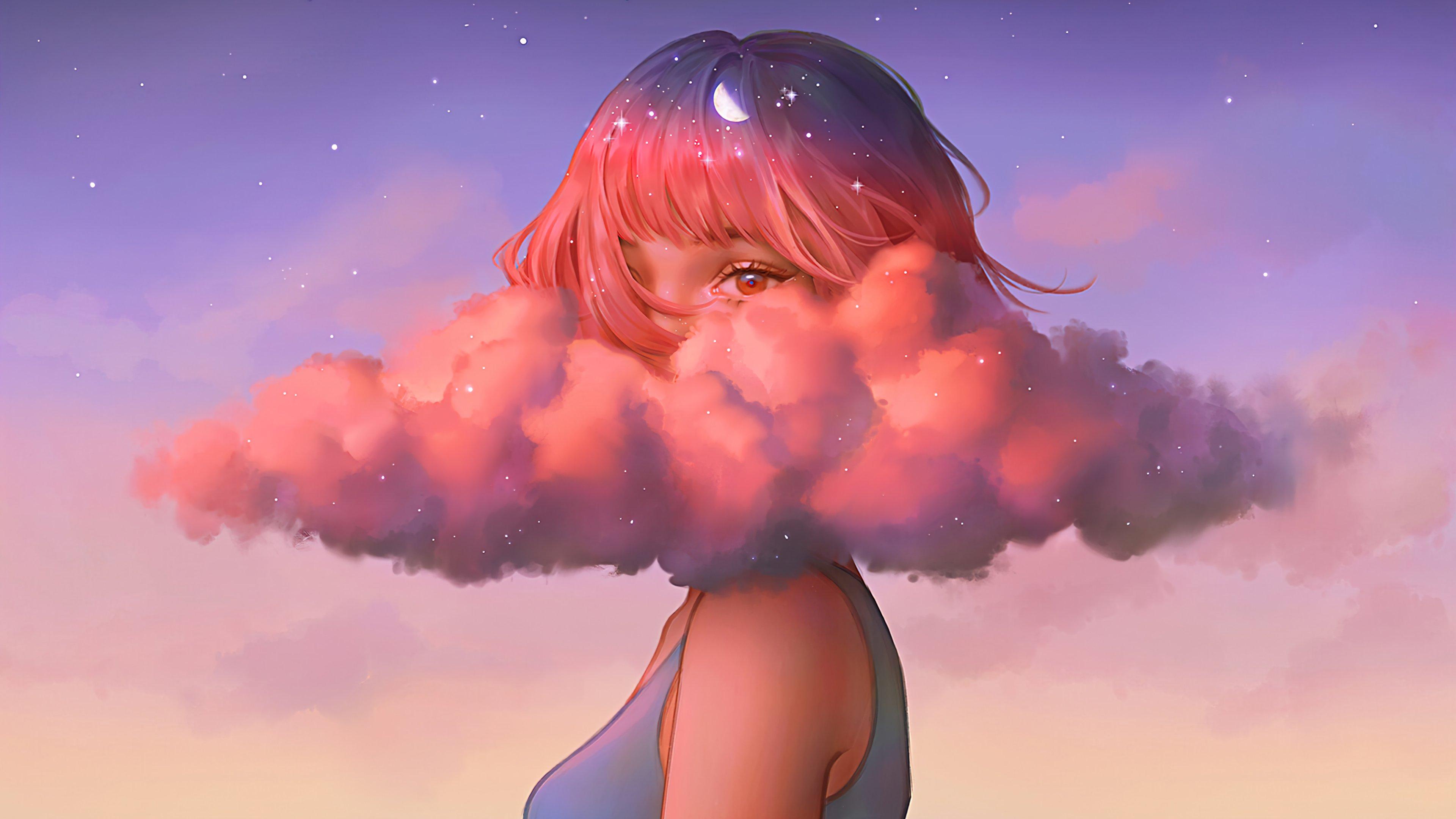 Fondos de pantalla Chica cubierta de nubes