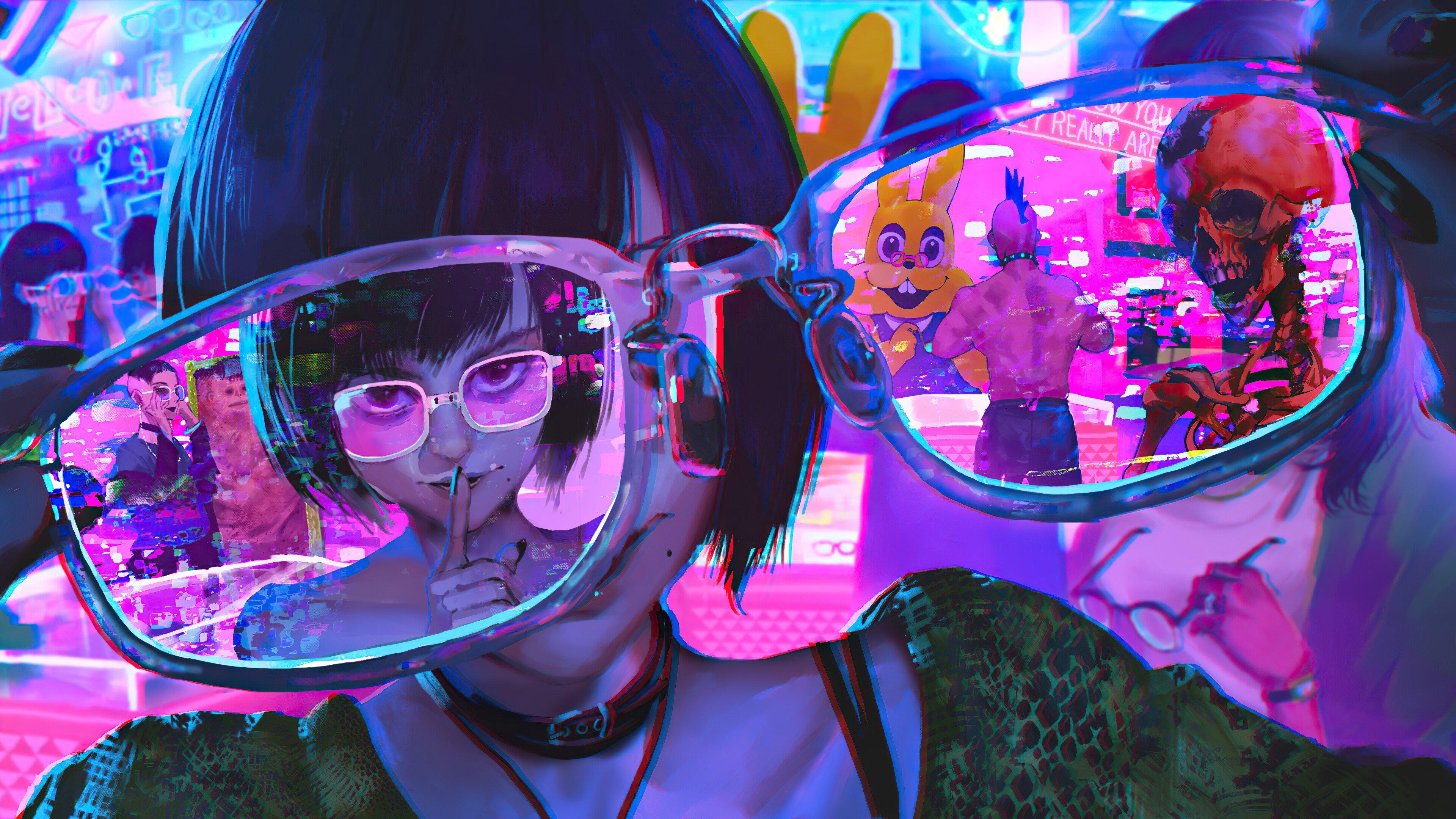 Fondos de pantalla Chica Cyberpunk a través de lentes
