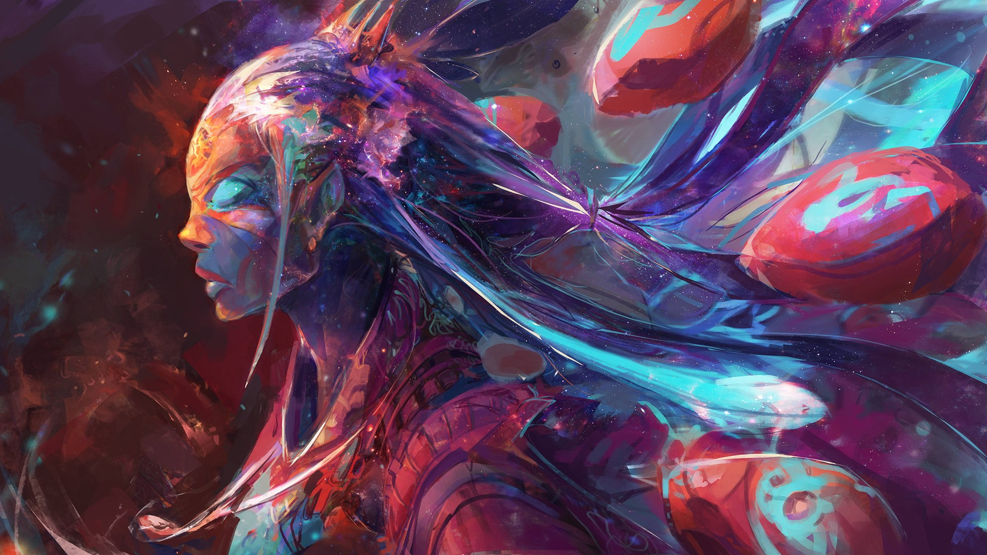 Fondos de pantalla Chica de colores Arte digital