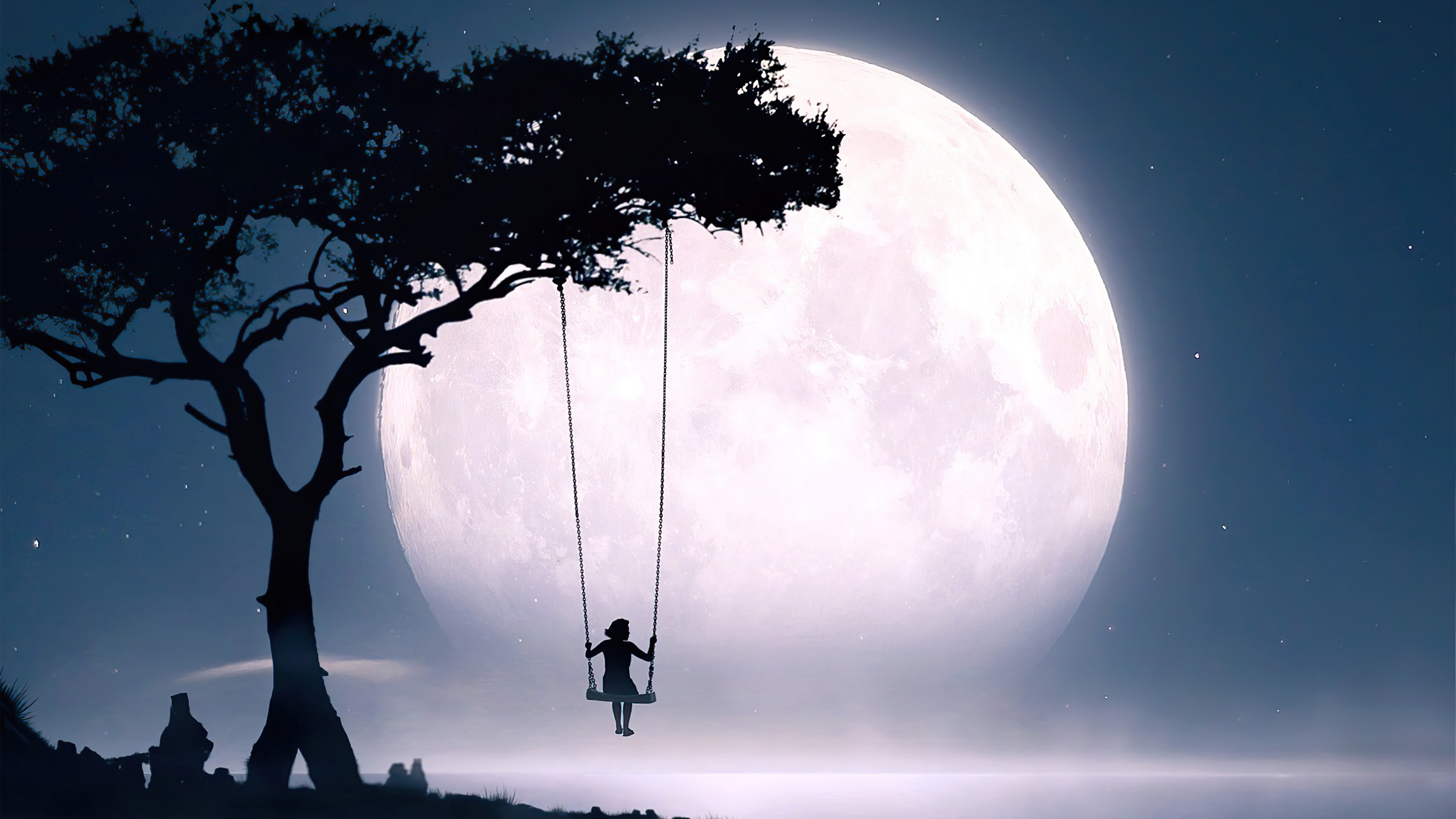Wallpaper Girl on a swing looking at the moon