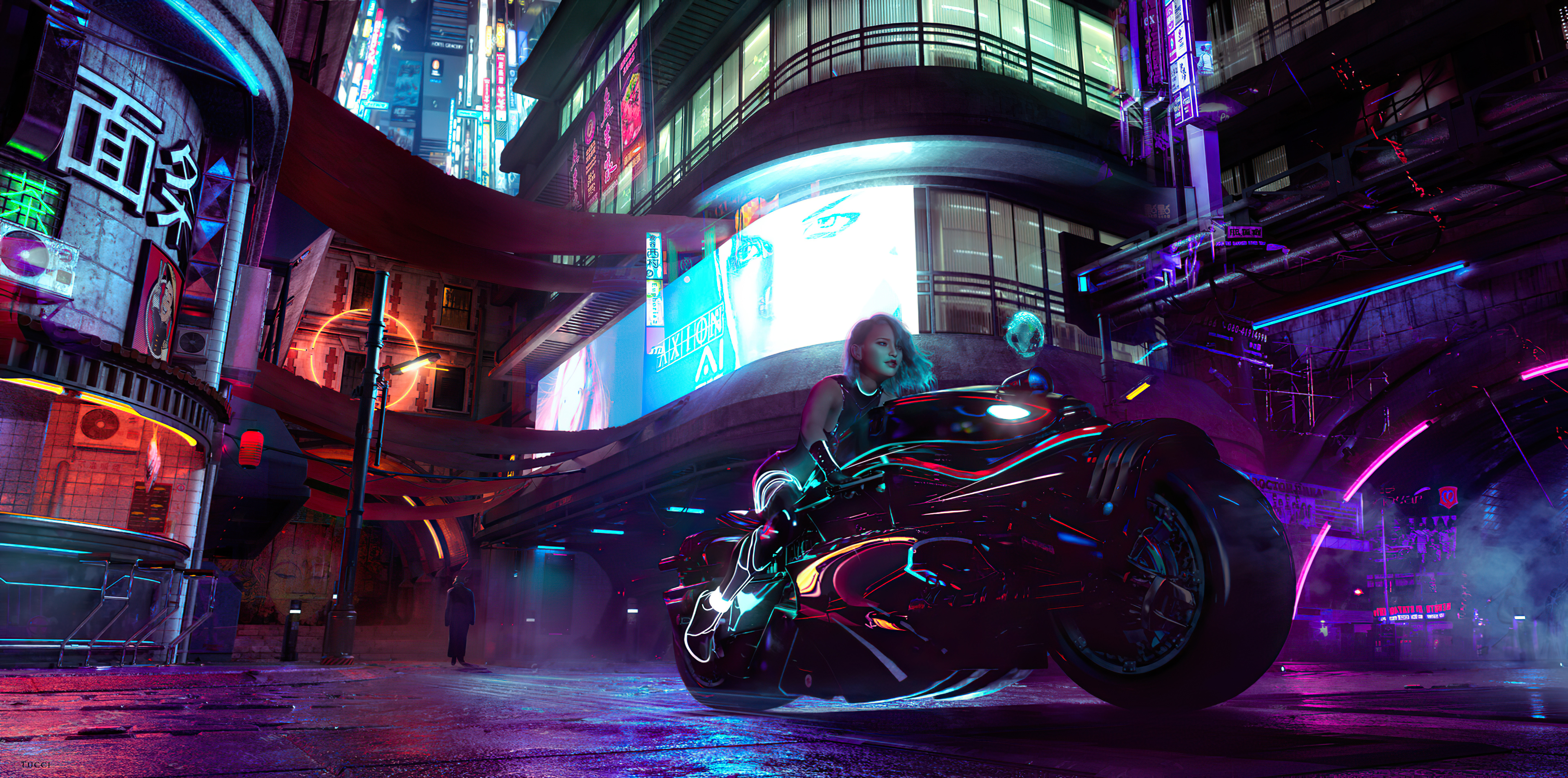 Cyberpunk Girl With Bike Wallpaper 4k Ultra Hd Id 5590