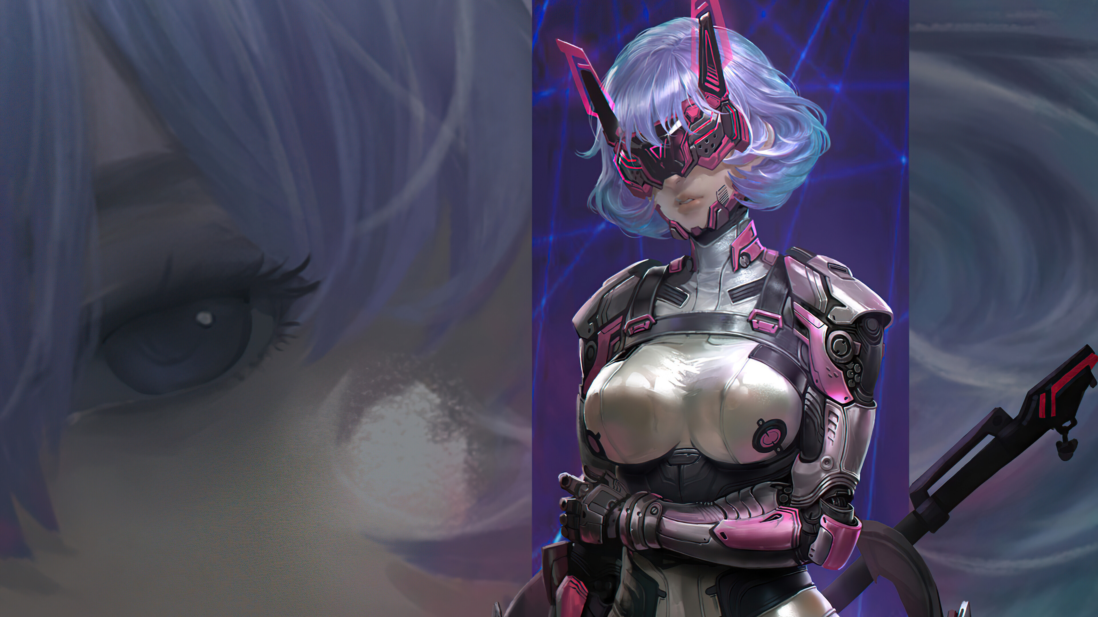 Fondos de pantalla Chica guerrera estilo cyberpunk