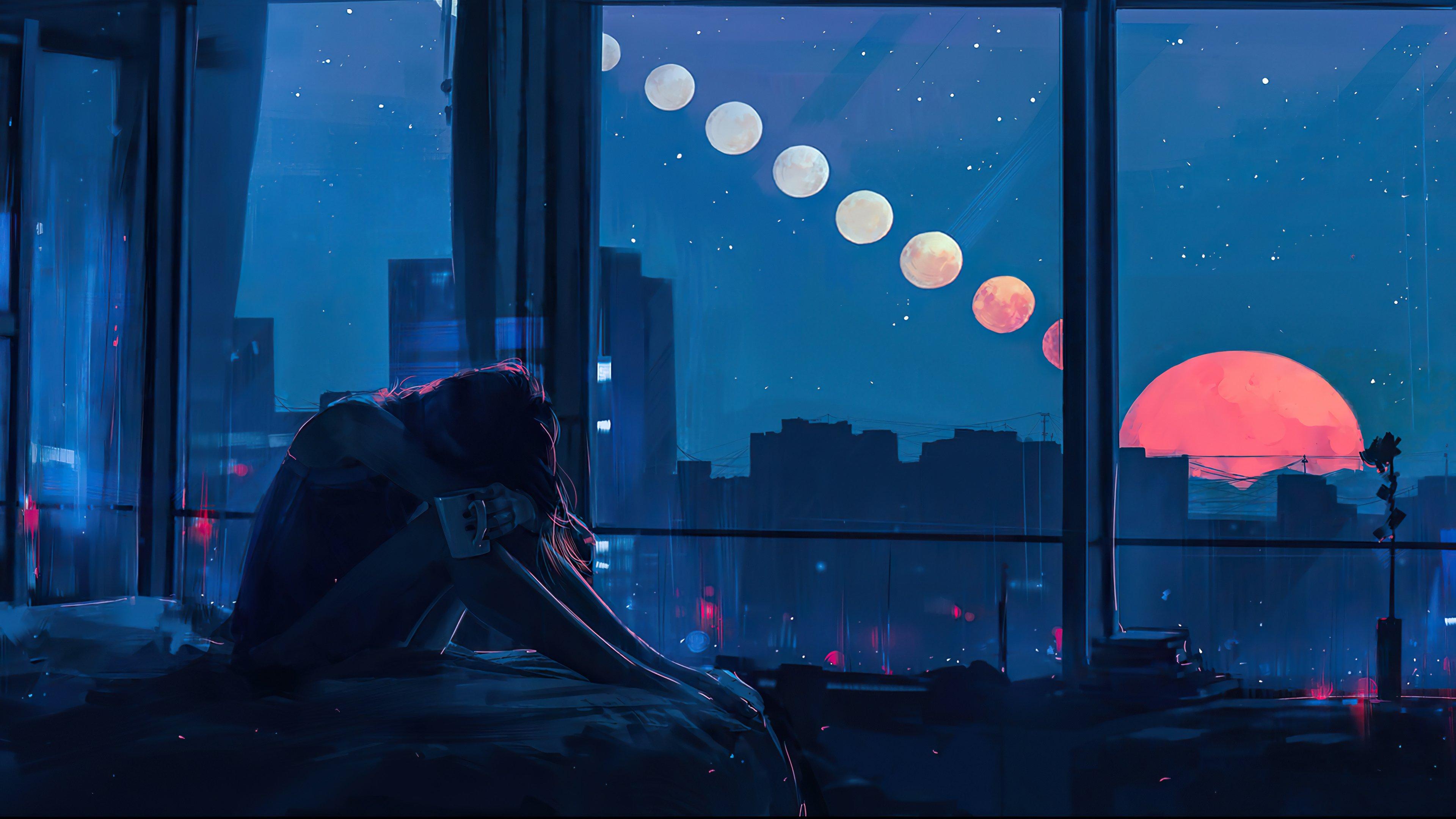 Fondos de pantalla Chica sola en la ciudad Ilustración