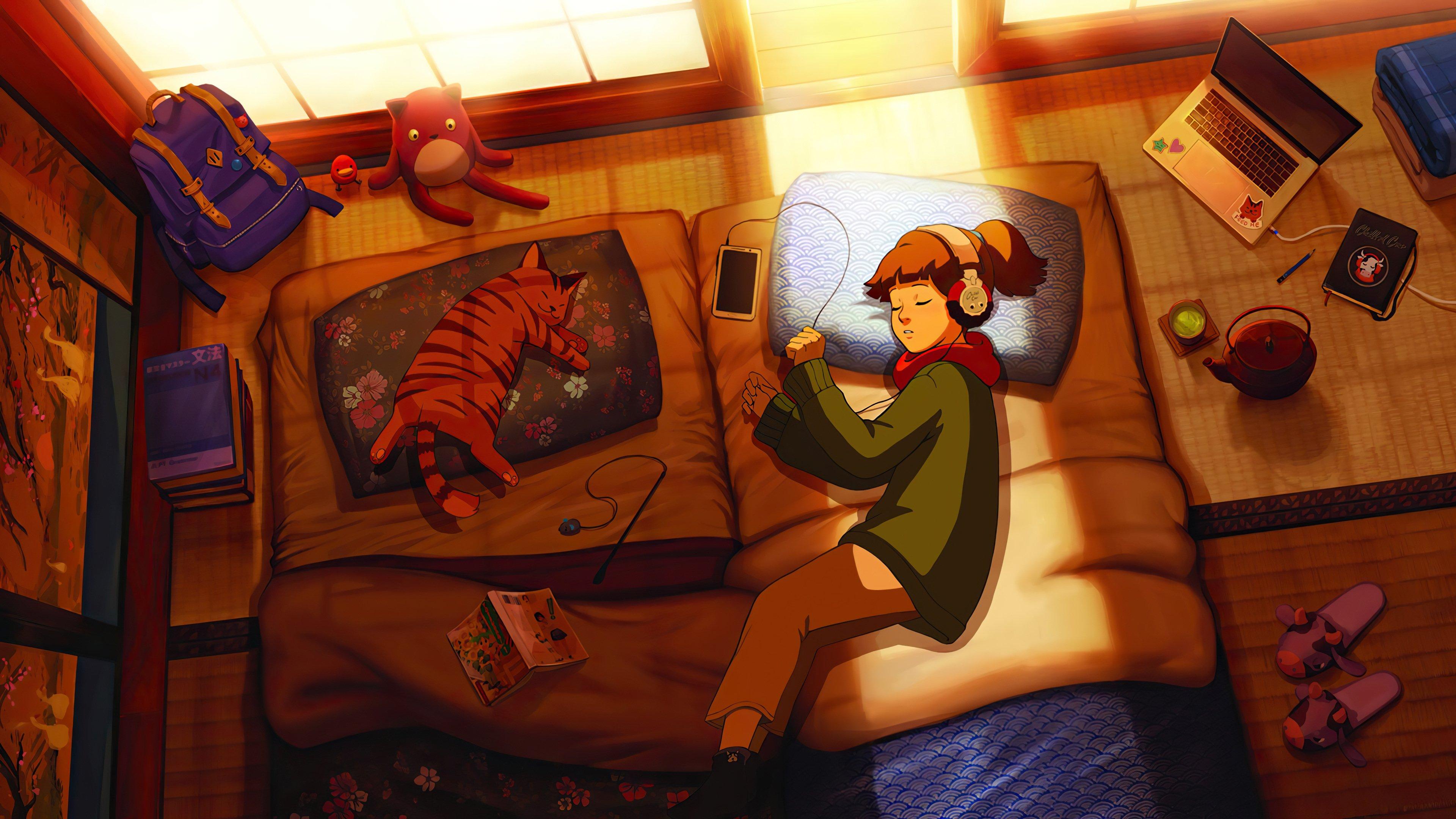 Wallpaper Girl and cat sleeping afternoon Lofi Art
