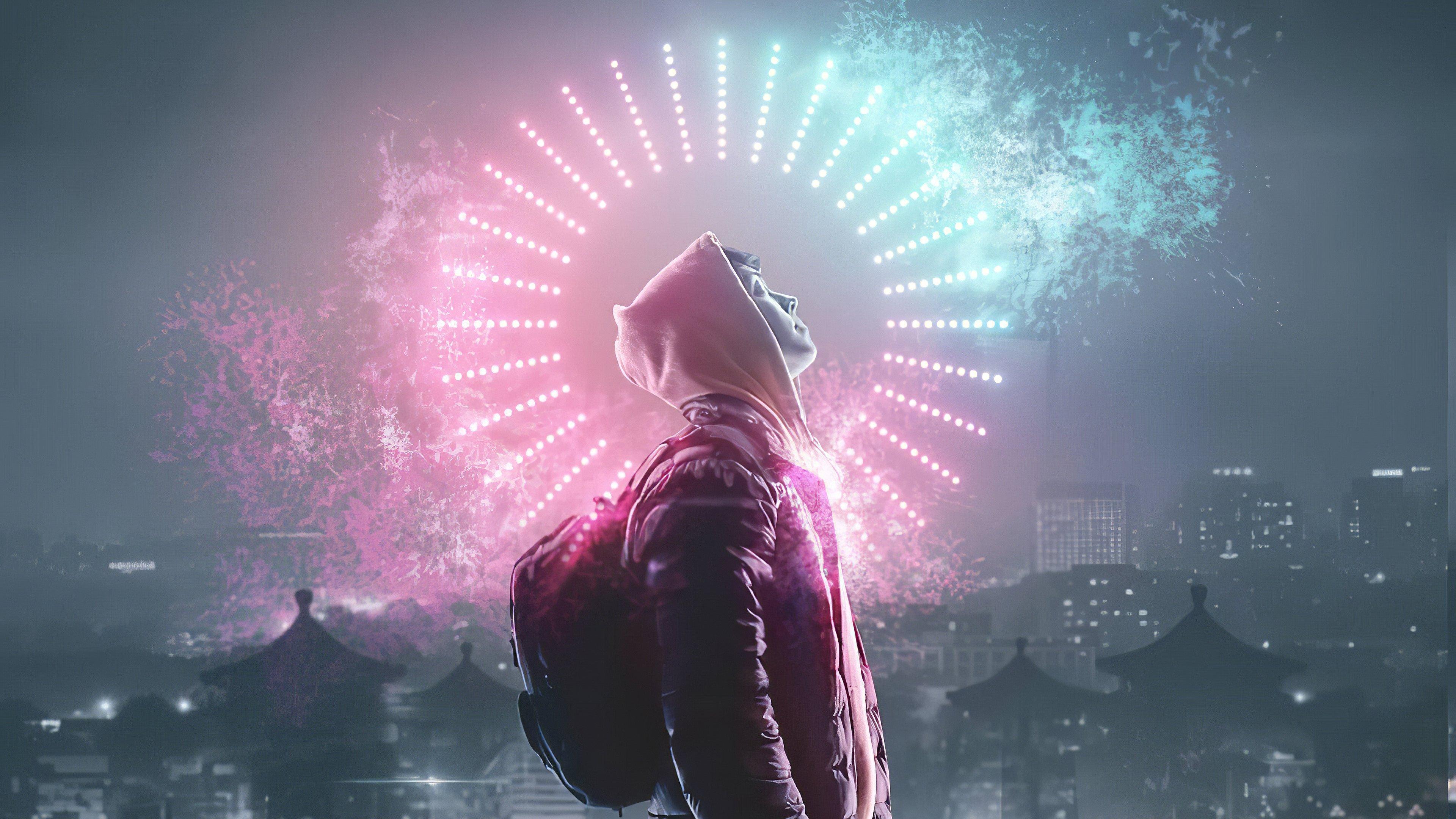 Fondos de pantalla Chico en ciudad iluminada en colores neon