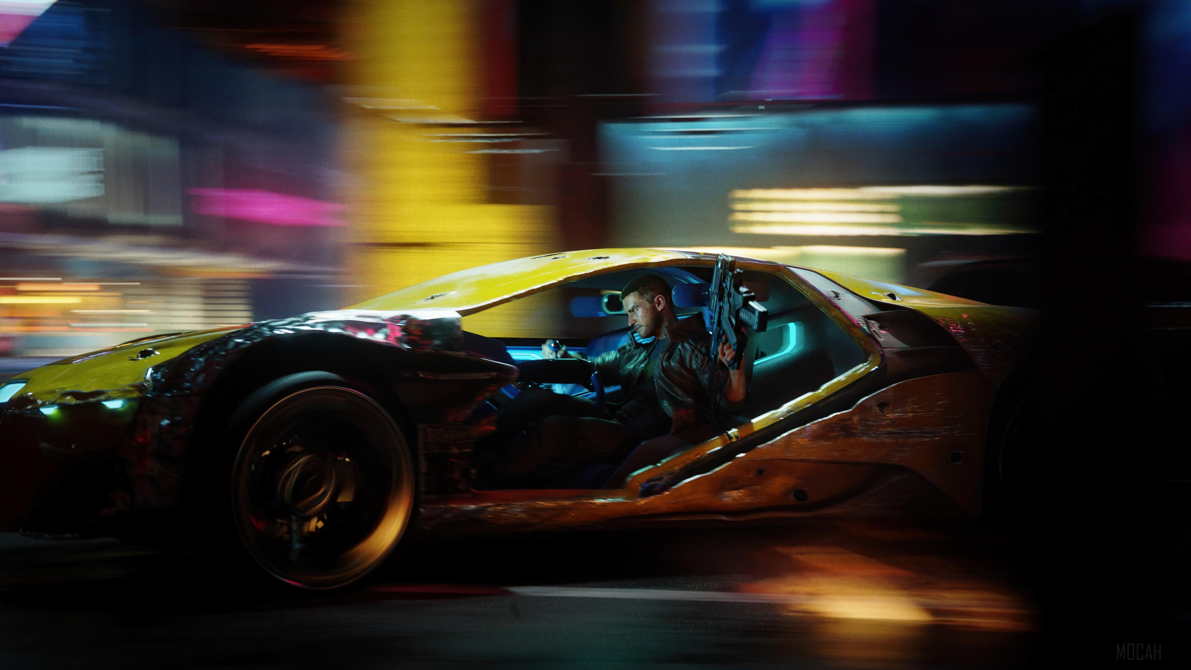 Wallpaper Guy driving with gun Cyberpunk 2077