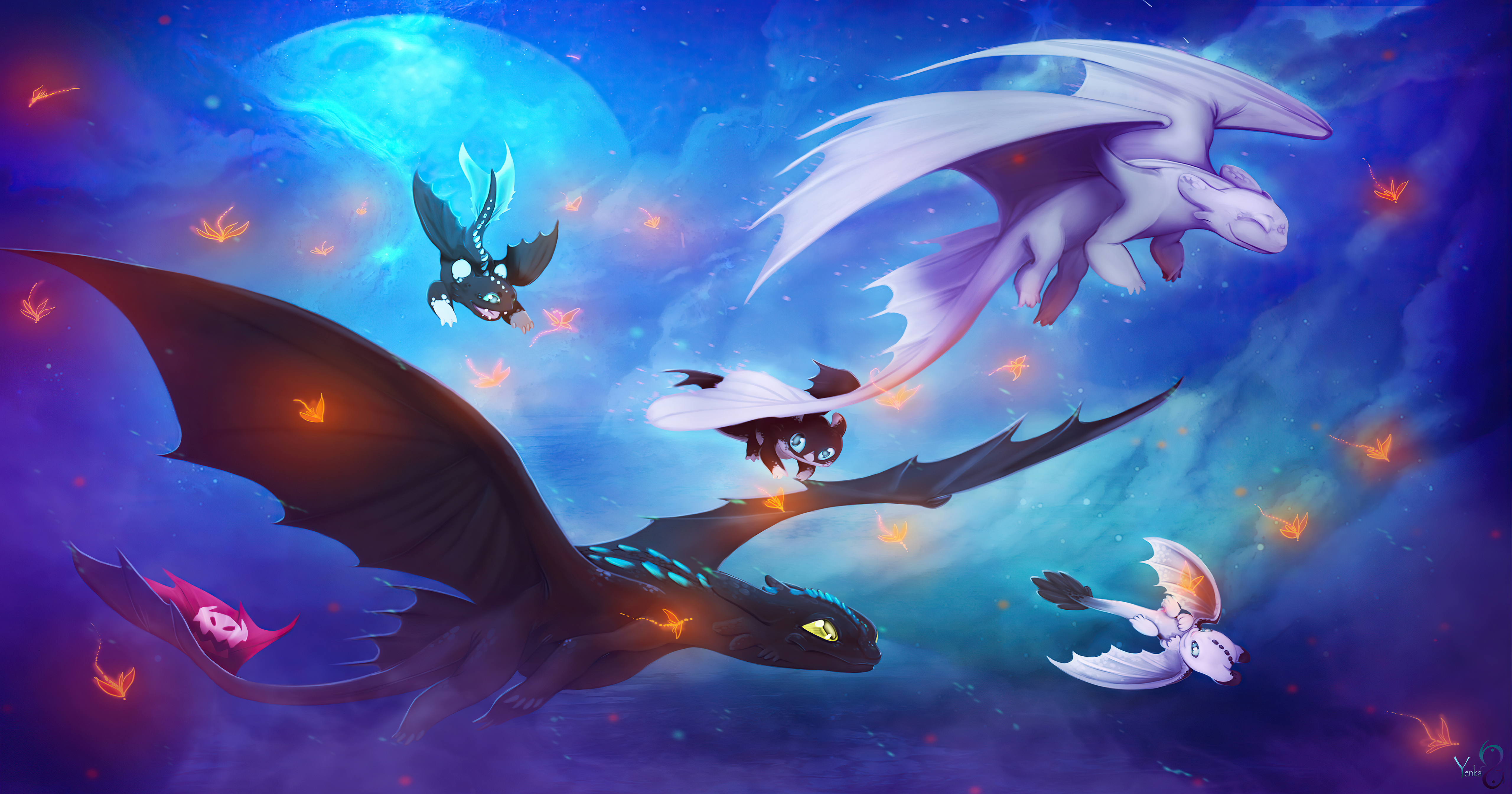 Wallpaper Toothless and his family