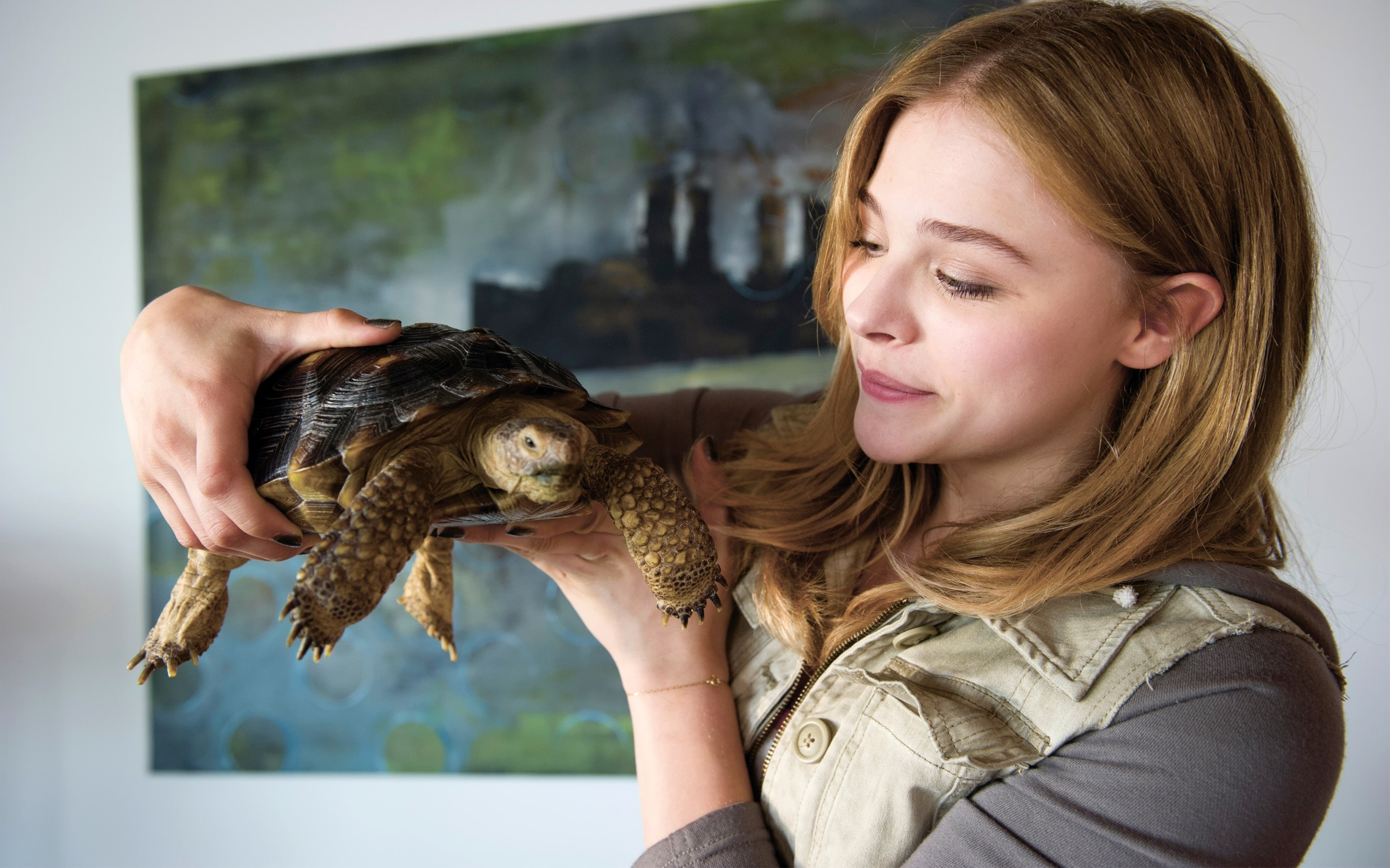 Wallpaper Chloe Moretz with a turtle