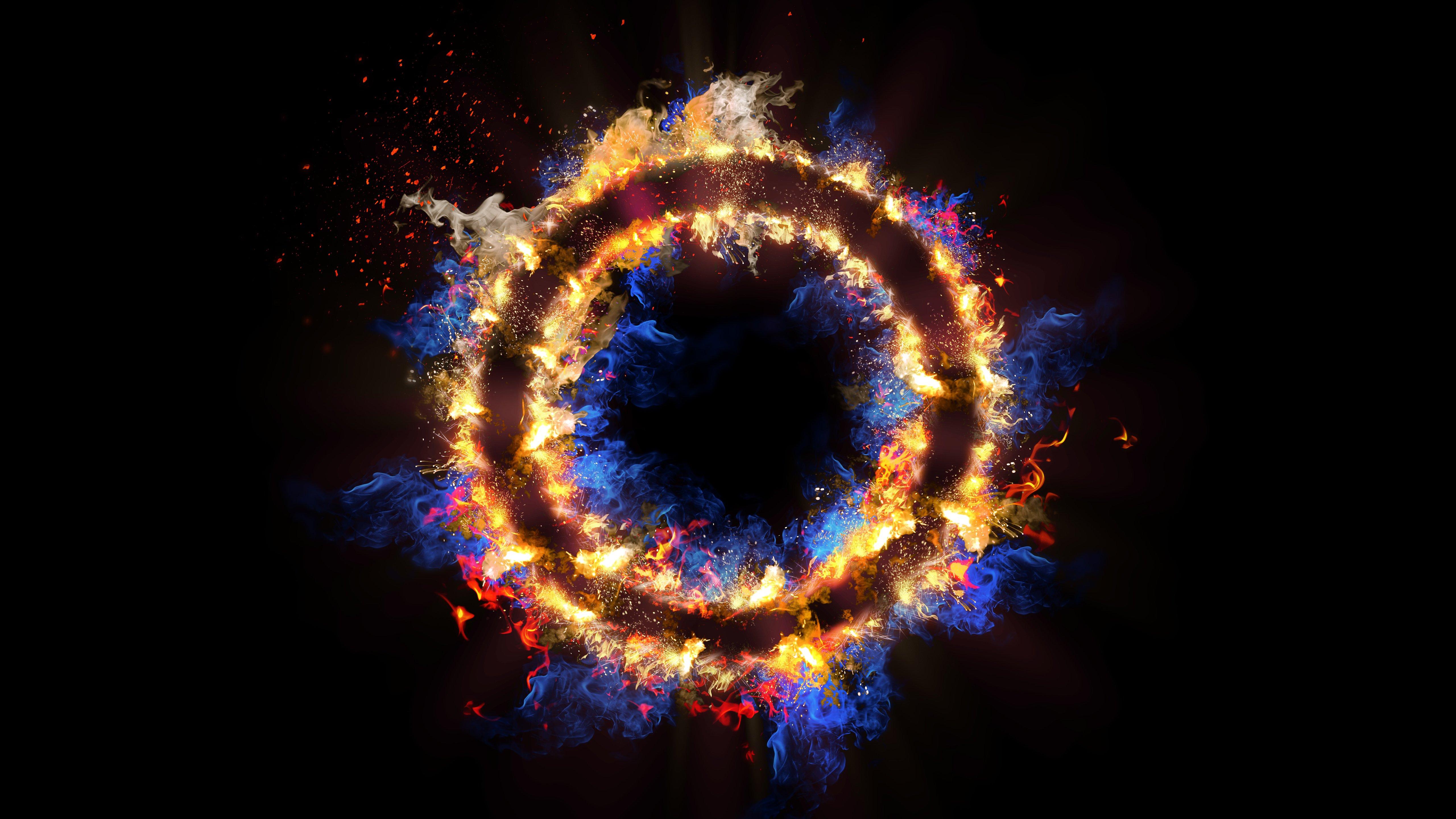 Fondos de pantalla Circulo en llamas Abstracto