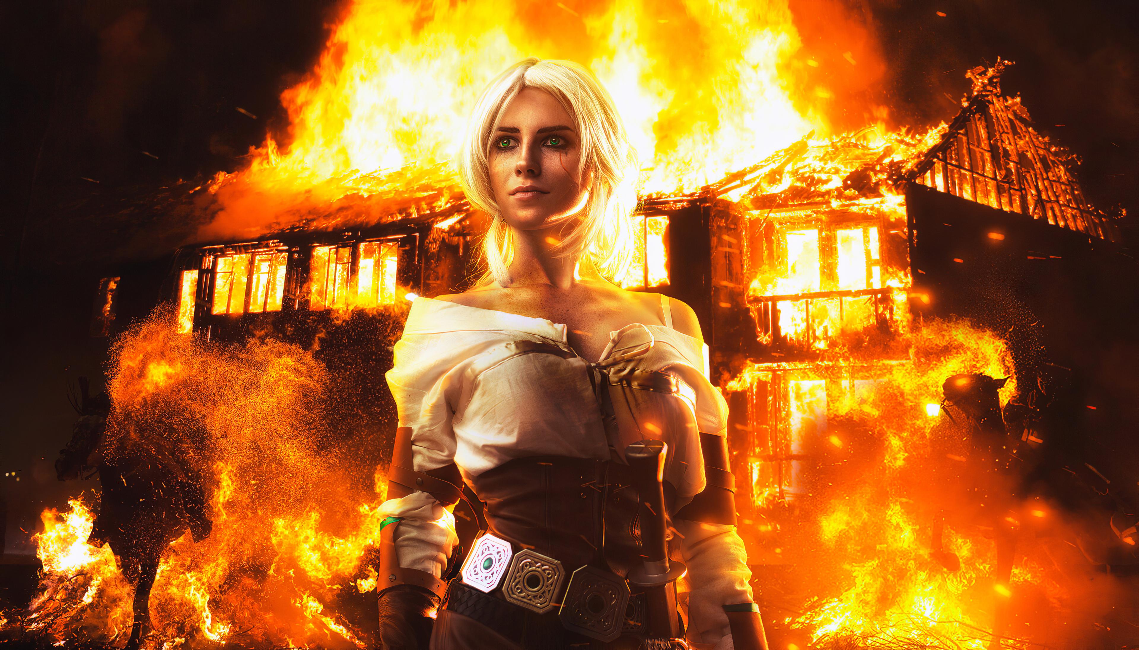 Fondos de pantalla Ciri afuera de casa incendiada