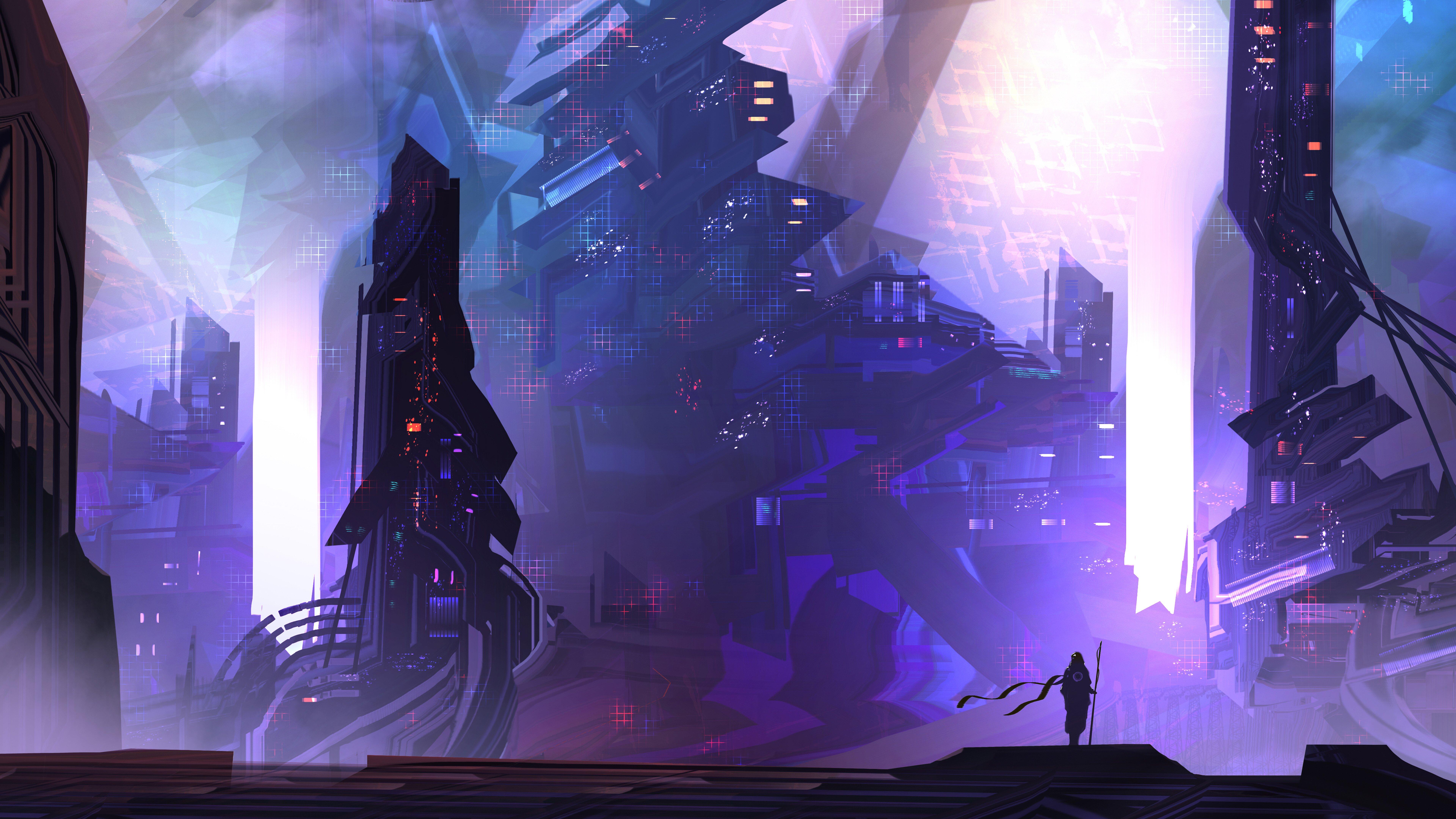 Wallpaper Science fiction city digital art