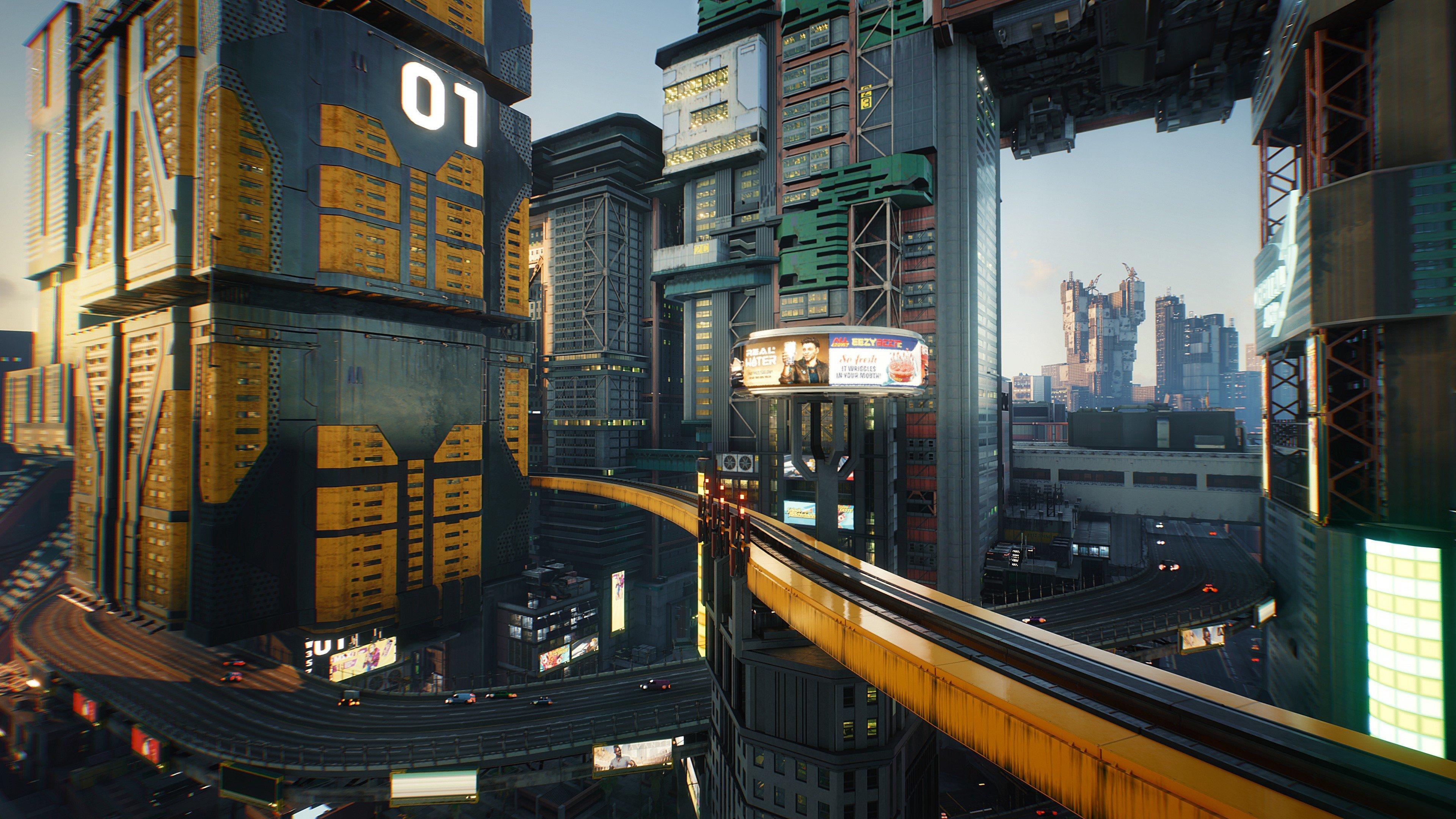Wallpaper Cyberpunk 2077 City Buildings