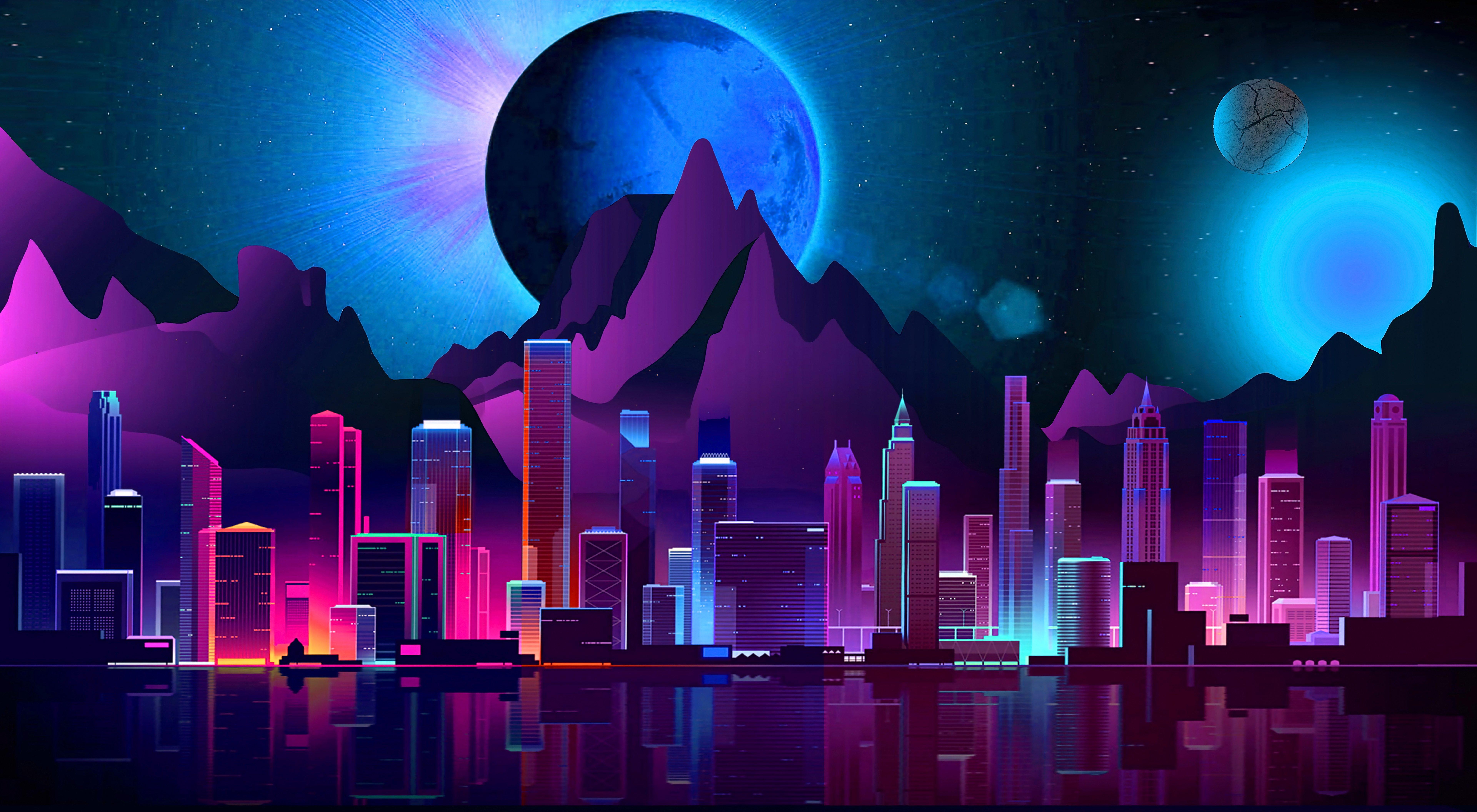 Fondos de pantalla Ciudad Futurista Estilo Retro