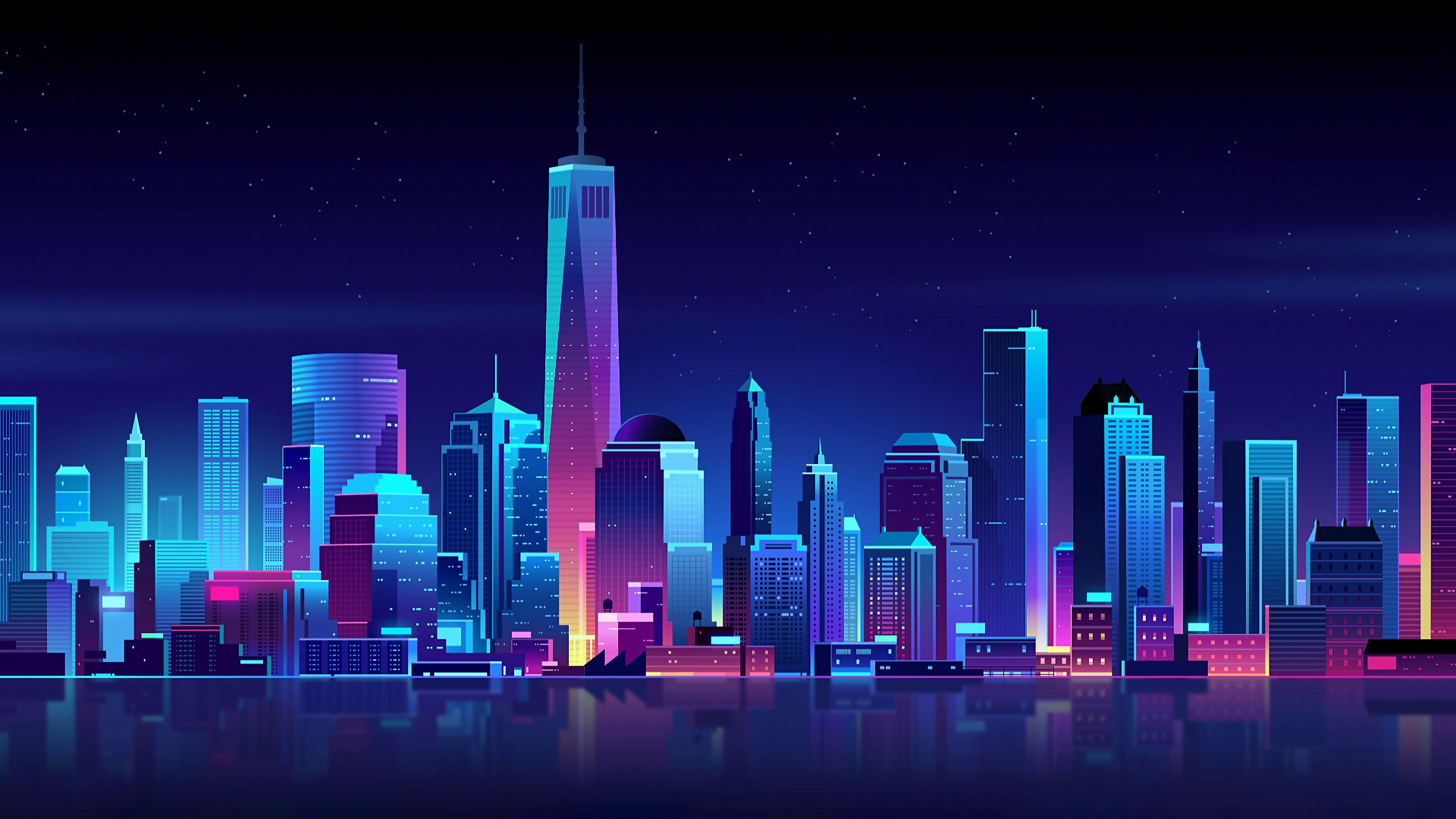 Fondos de pantalla Ciudad nocturna en arte neón