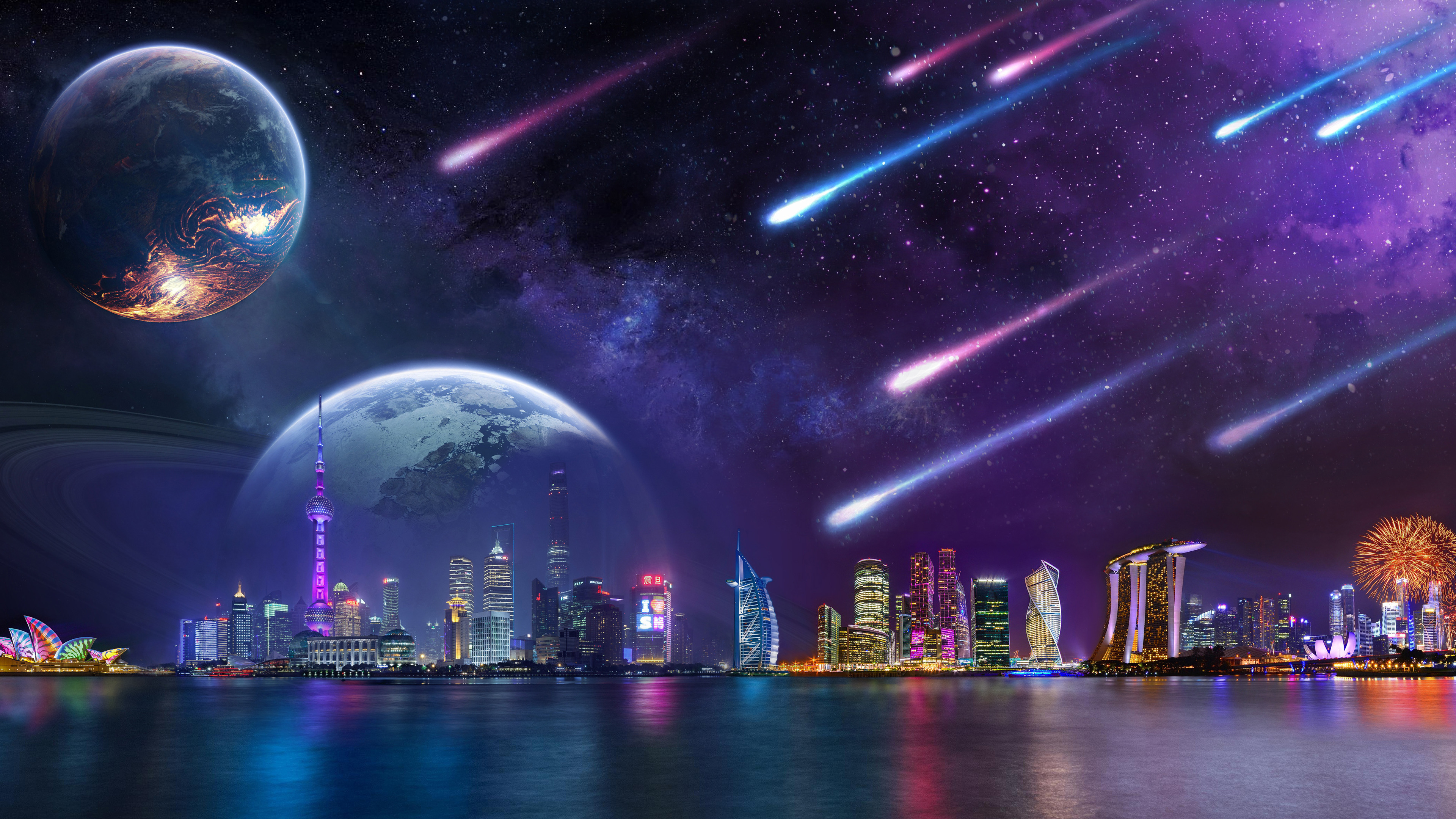 Wallpaper Comet and planets in digital Night city scenery