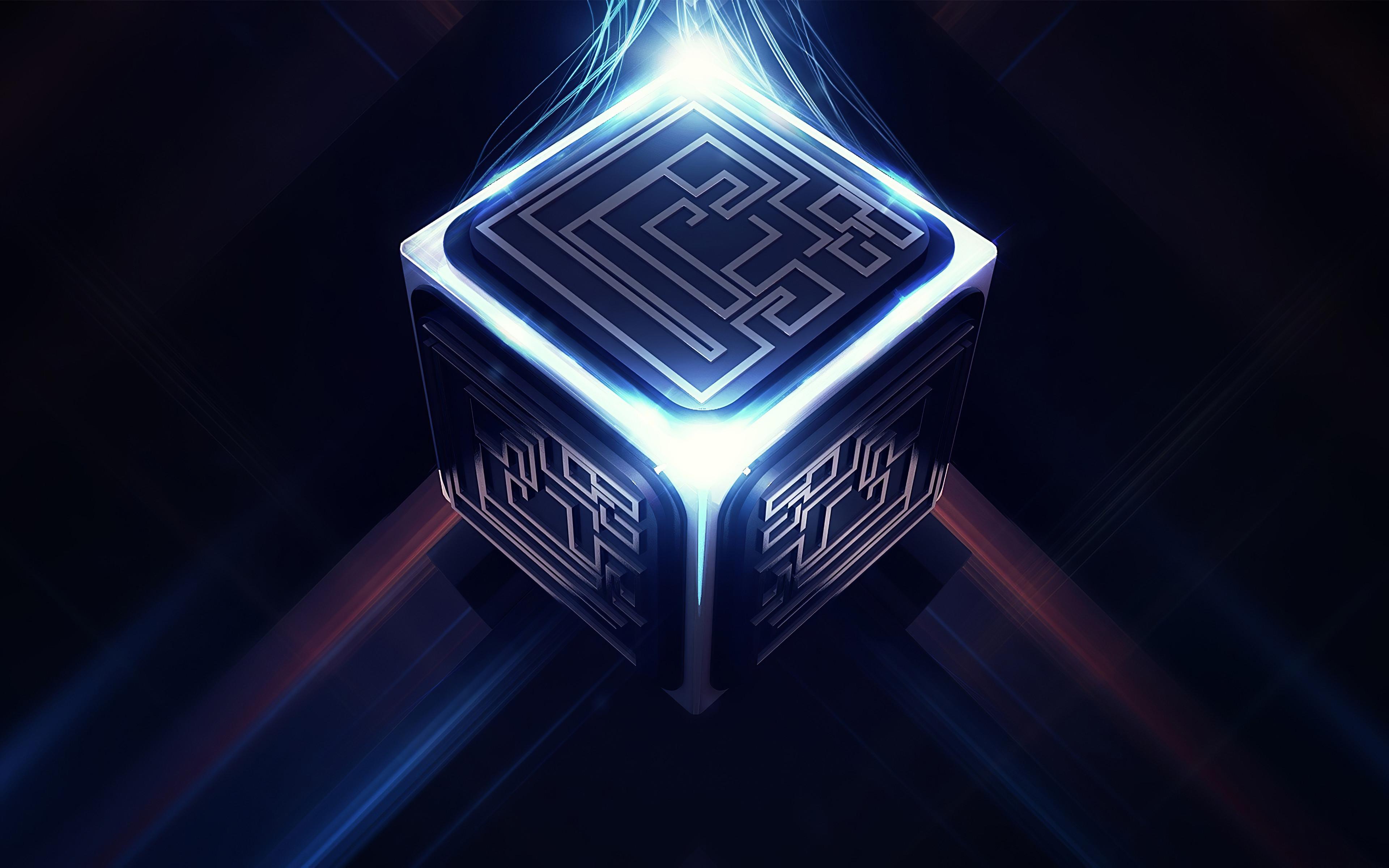 Fondos de pantalla Cubo con energia de luces