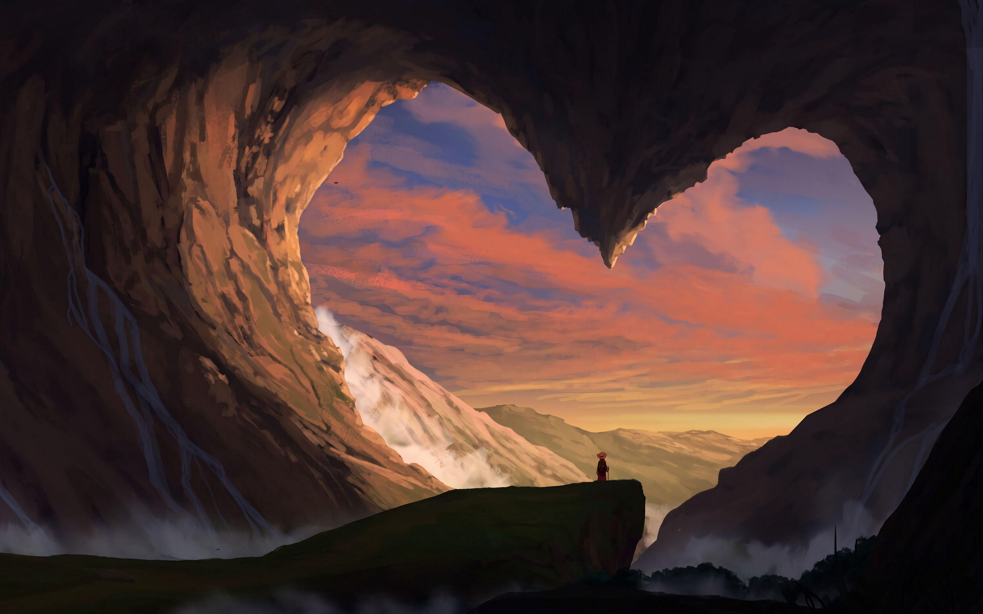 Fondos de pantalla Cueva en forma de corazón Artwork