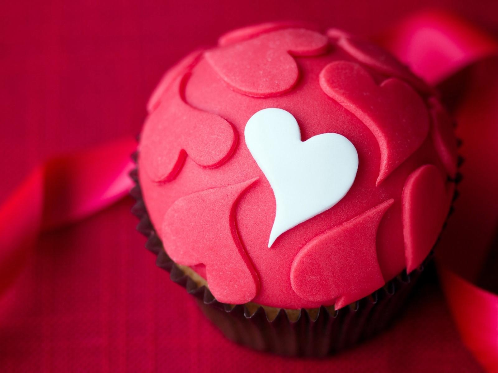 Fondos de pantalla Cupcake de corazones