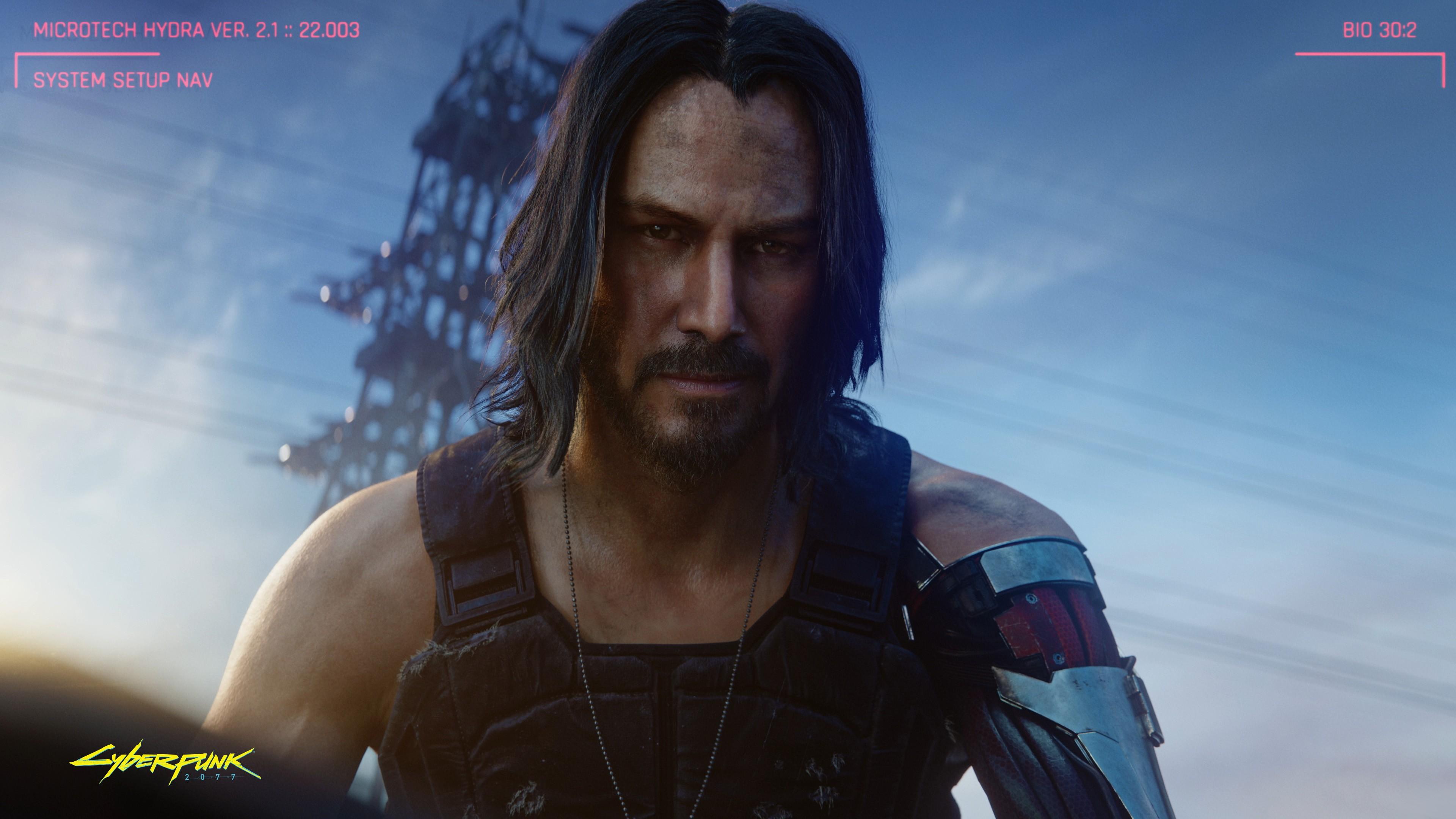 Wallpaper Cyberpunk 2077 with Keanu Reeves