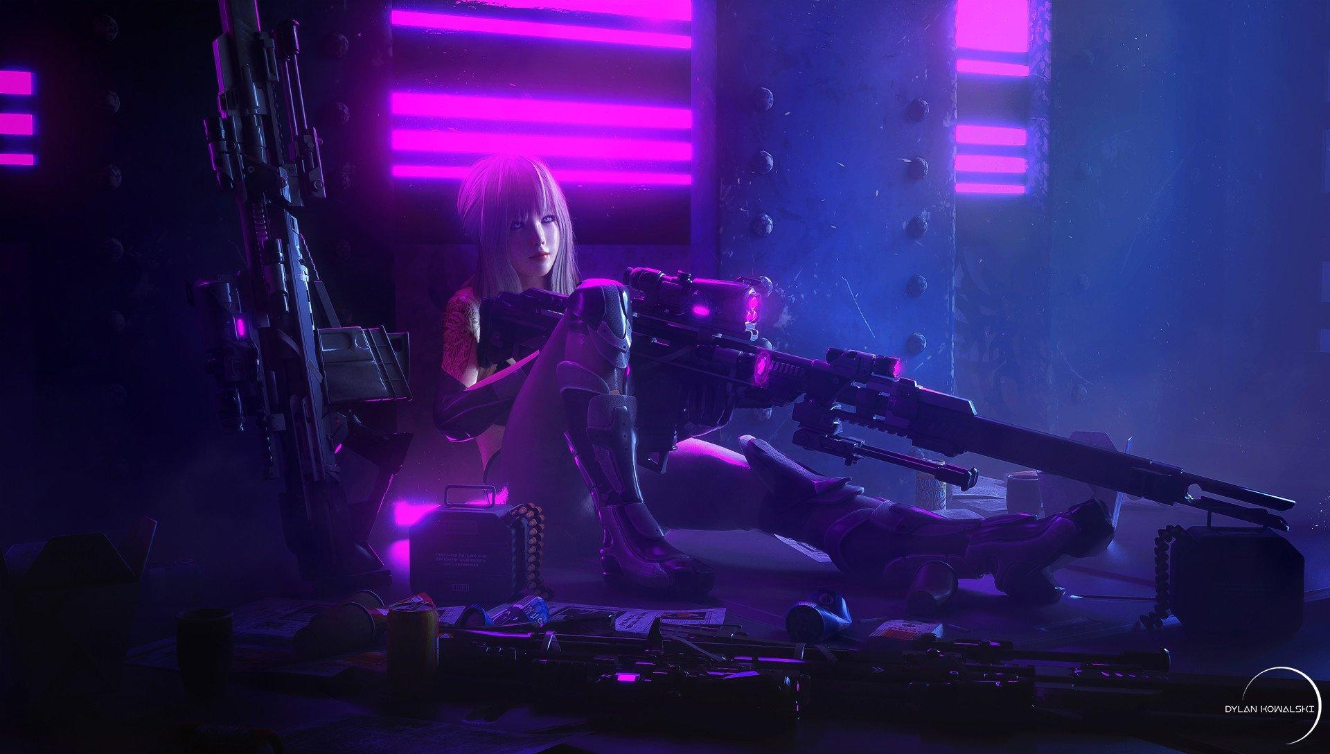 Fondos de pantalla Cyberpunk Chica francotirador