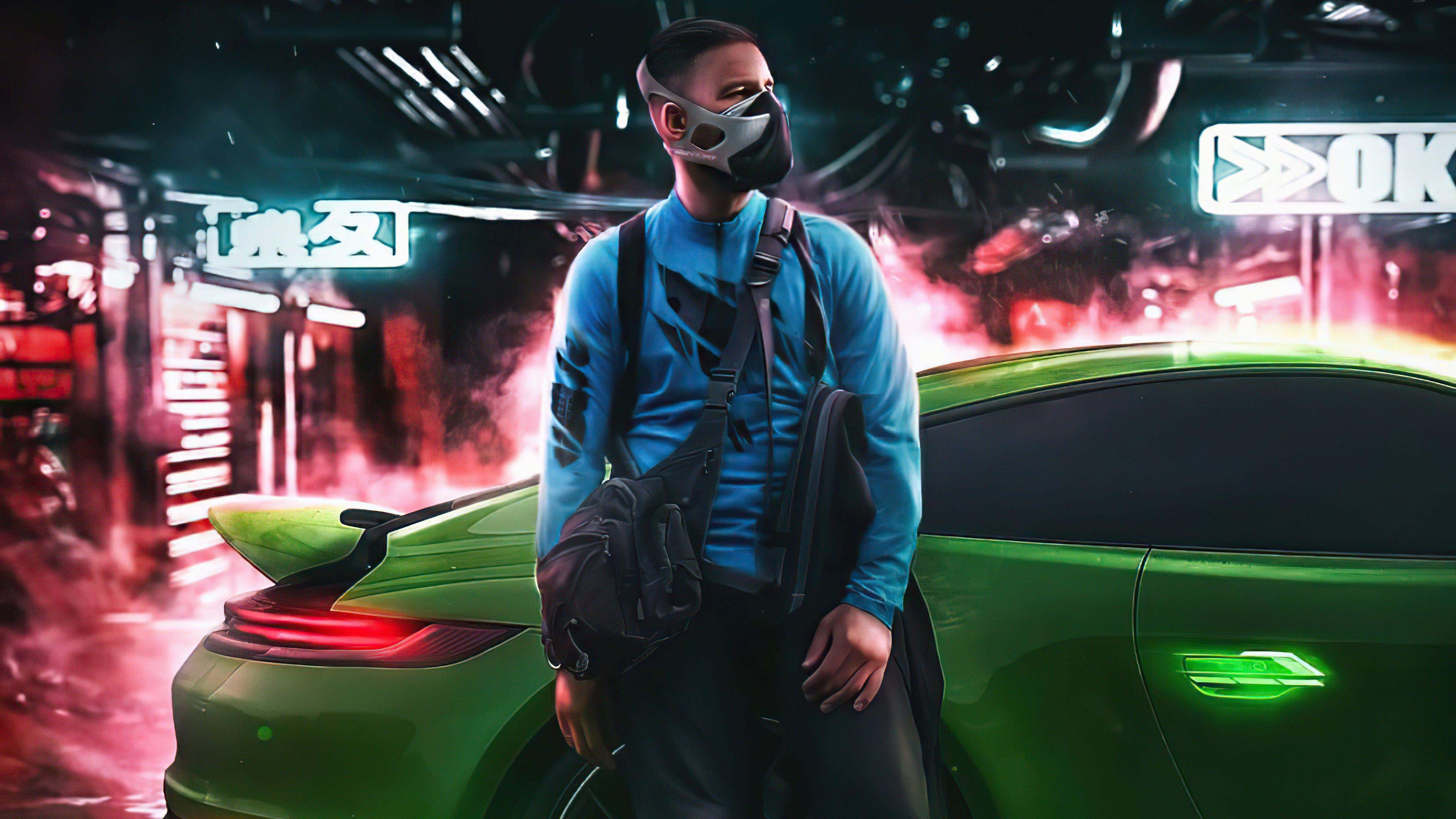 Fondos de pantalla Cyberpunk Chico con mascara con Porsche