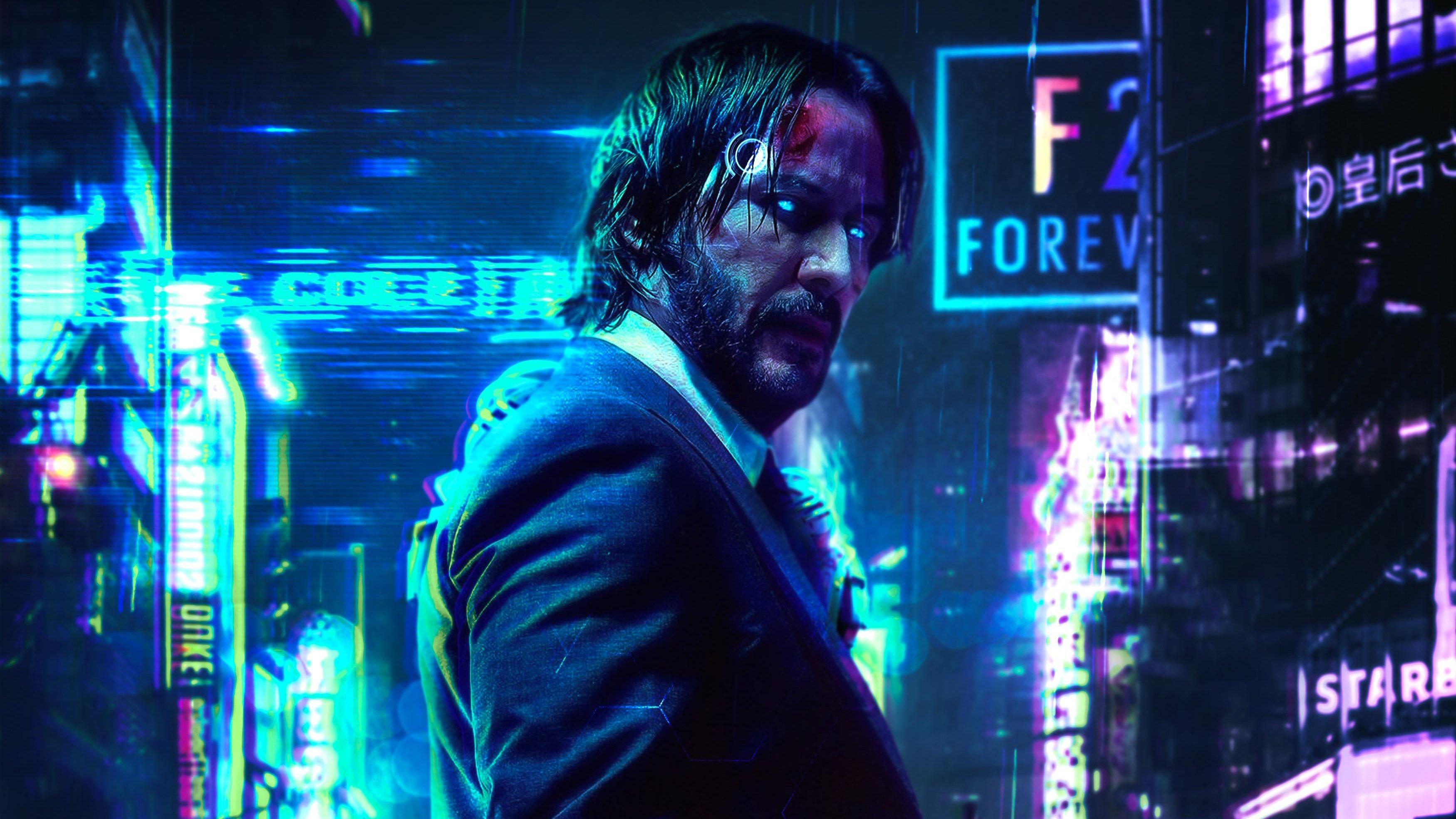 Wallpaper Cyberpunk John Wick Keanu Reeves FanArt