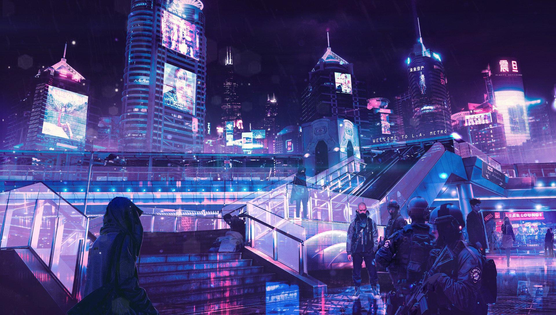 Fondos de pantalla Cyberpunk Neón Ciudad
