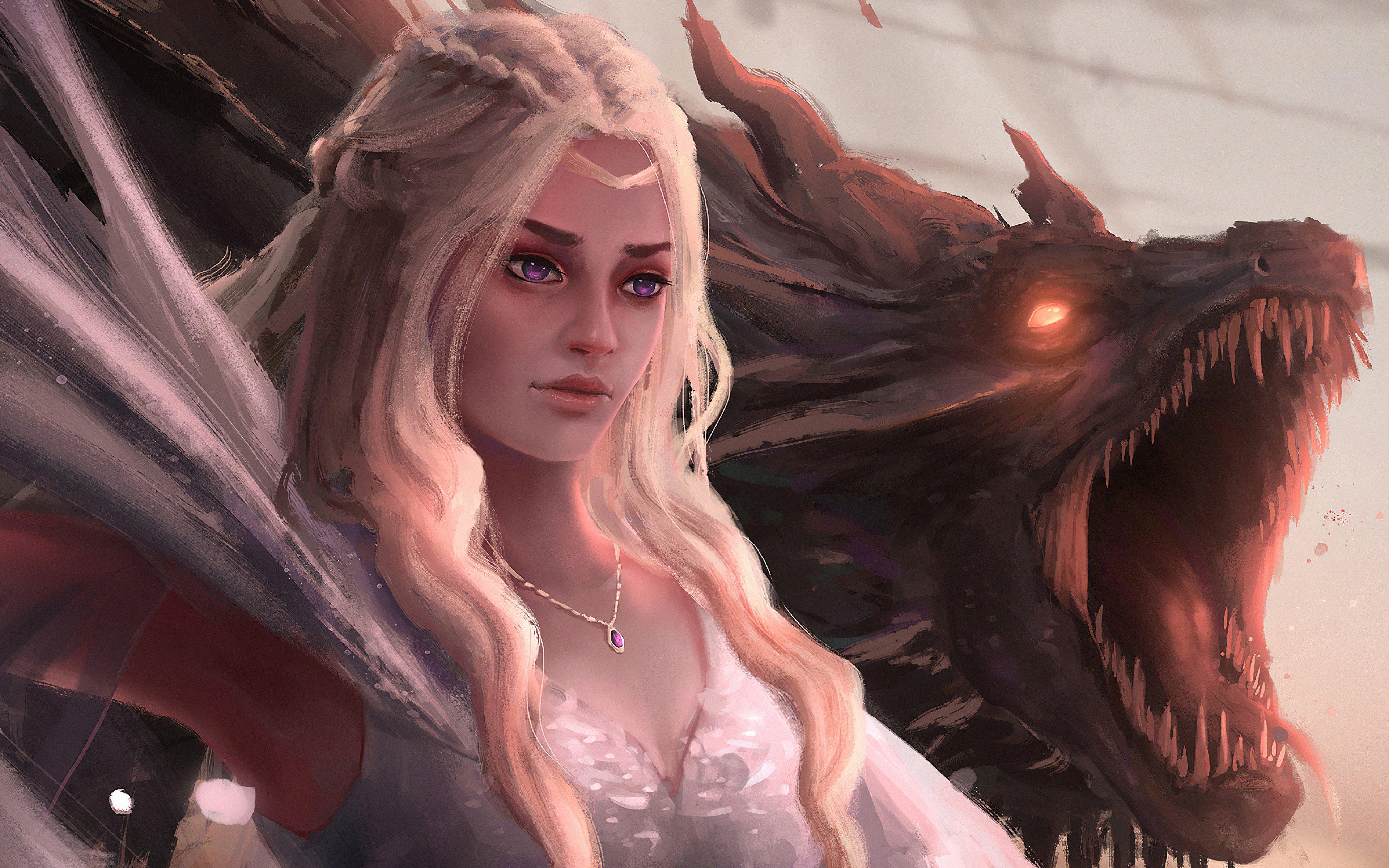 Fondos de pantalla Daenerys Targaryen con dragón Fanart