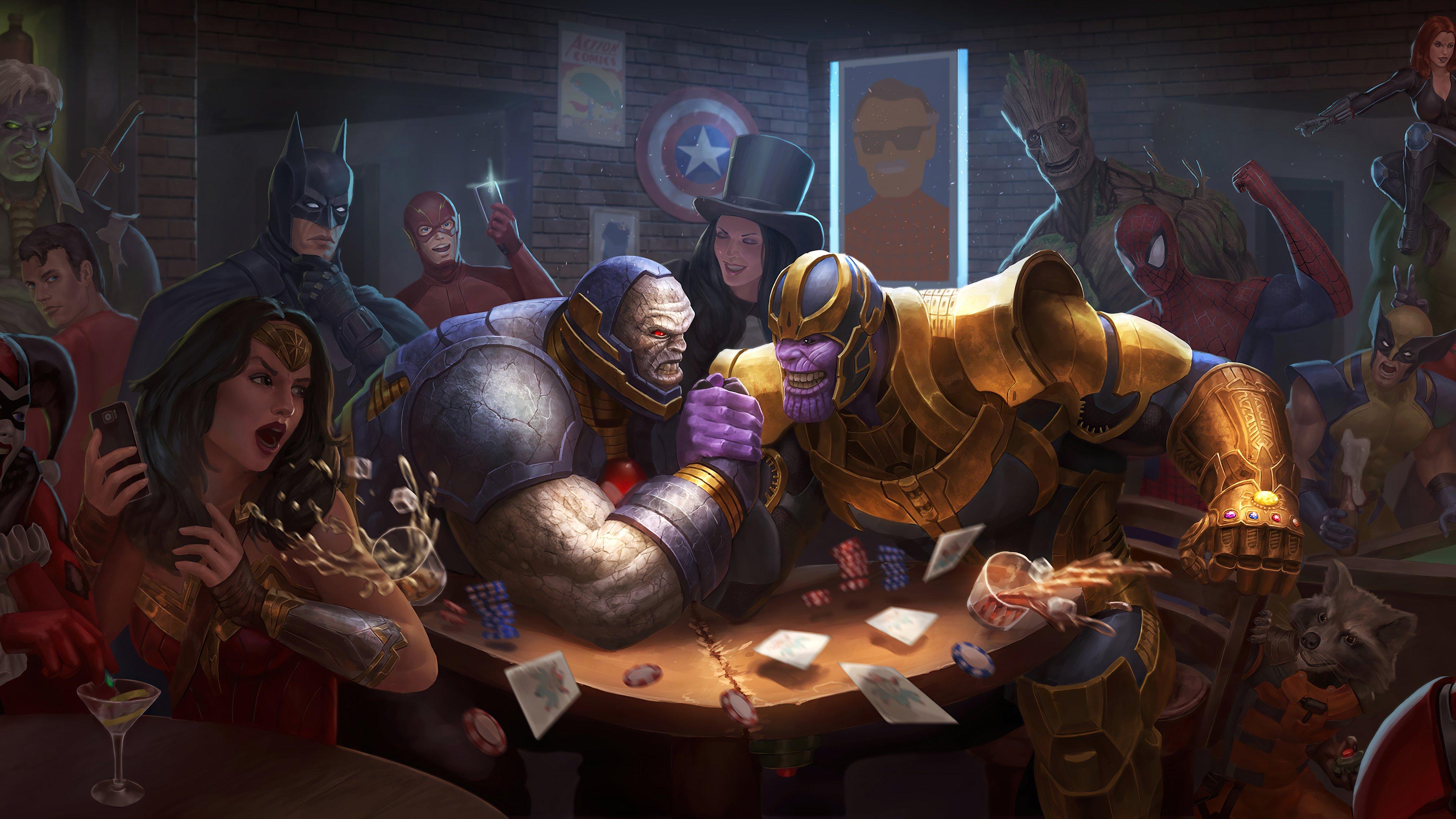 Wallpaper Darksaid vs Thanos in bar