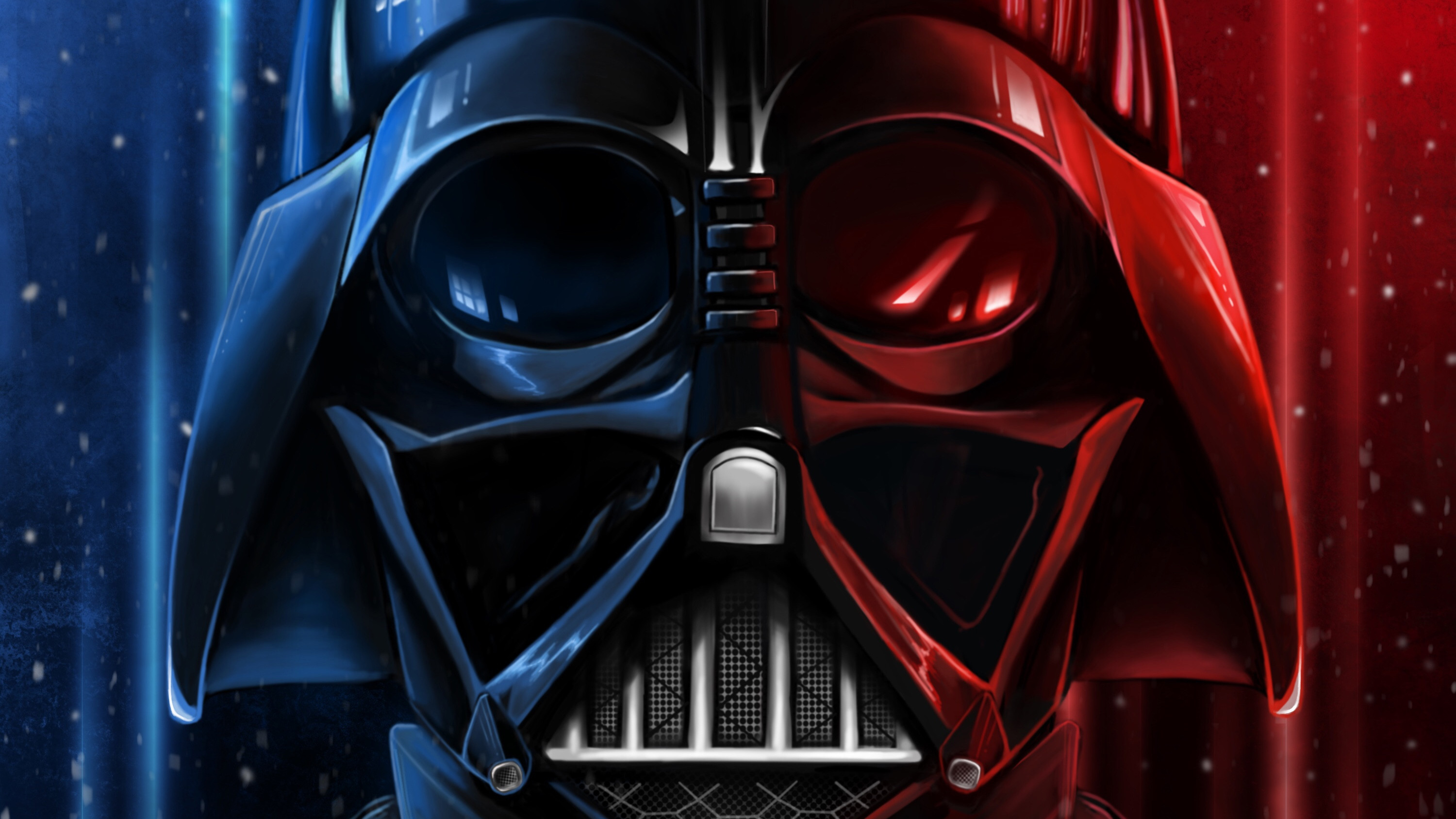 Wallpaper Darth Vader with blue and red lights