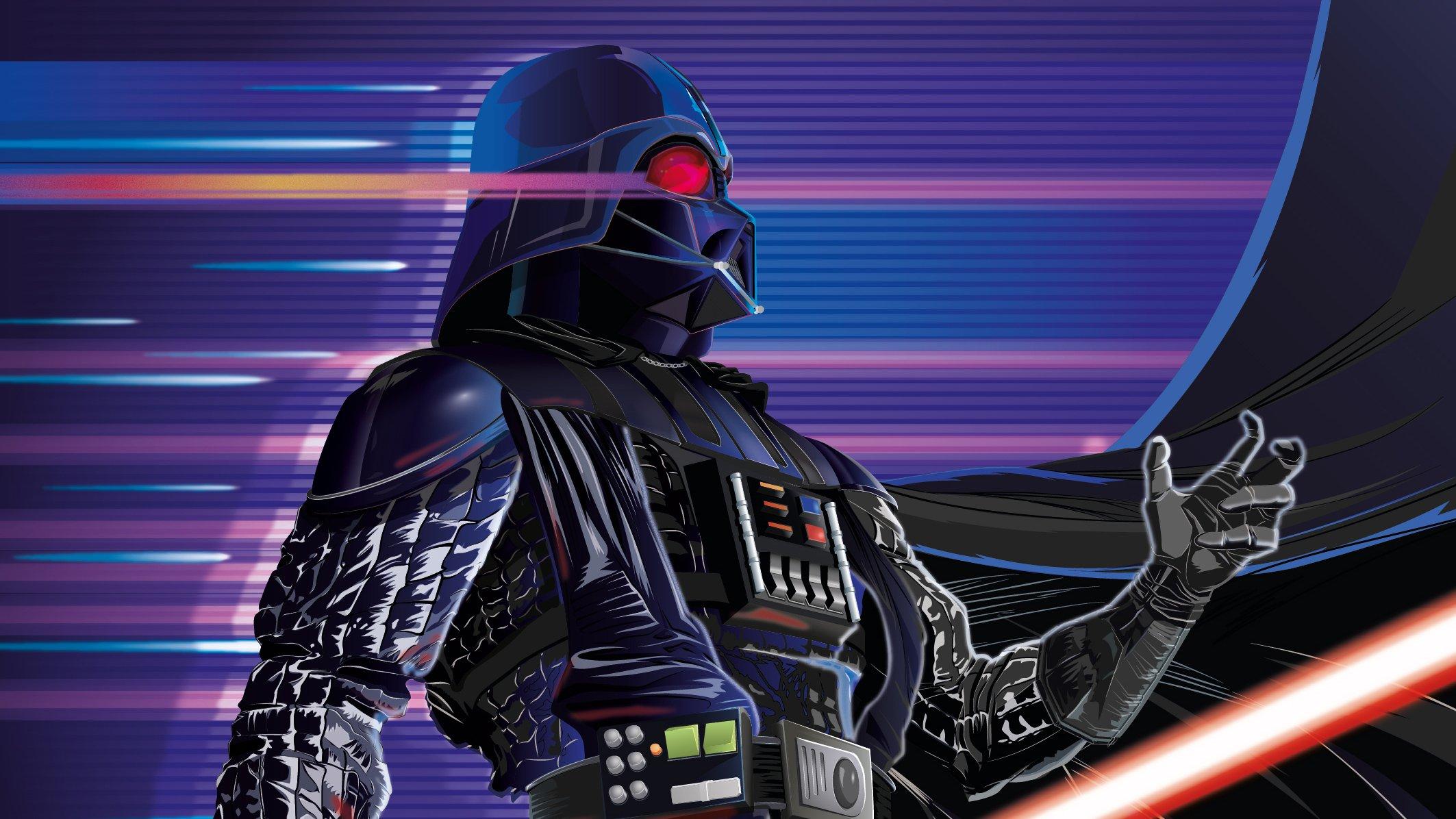 Fondos de pantalla Darth Vader estilo Synthwave