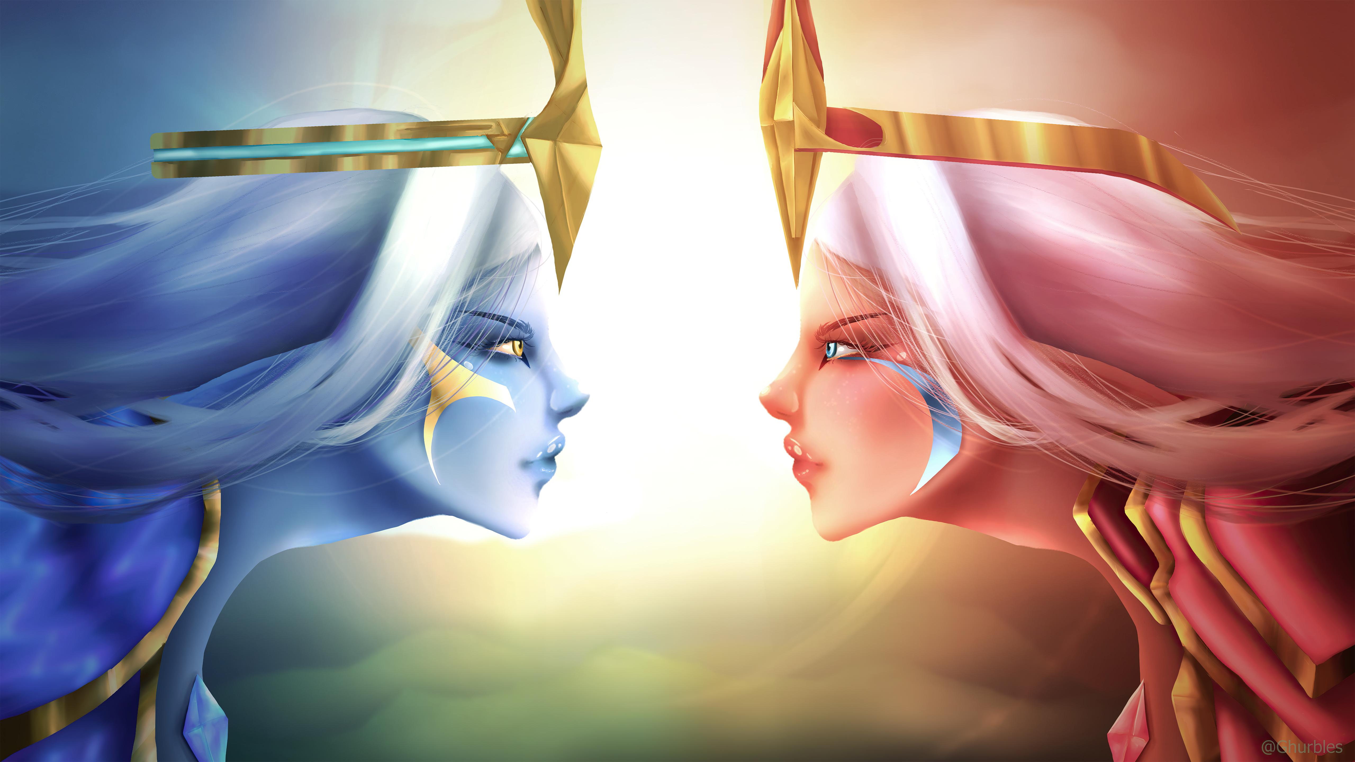 Wallpaper Dawnbringer vs Duskbringer Soraka League of Legends