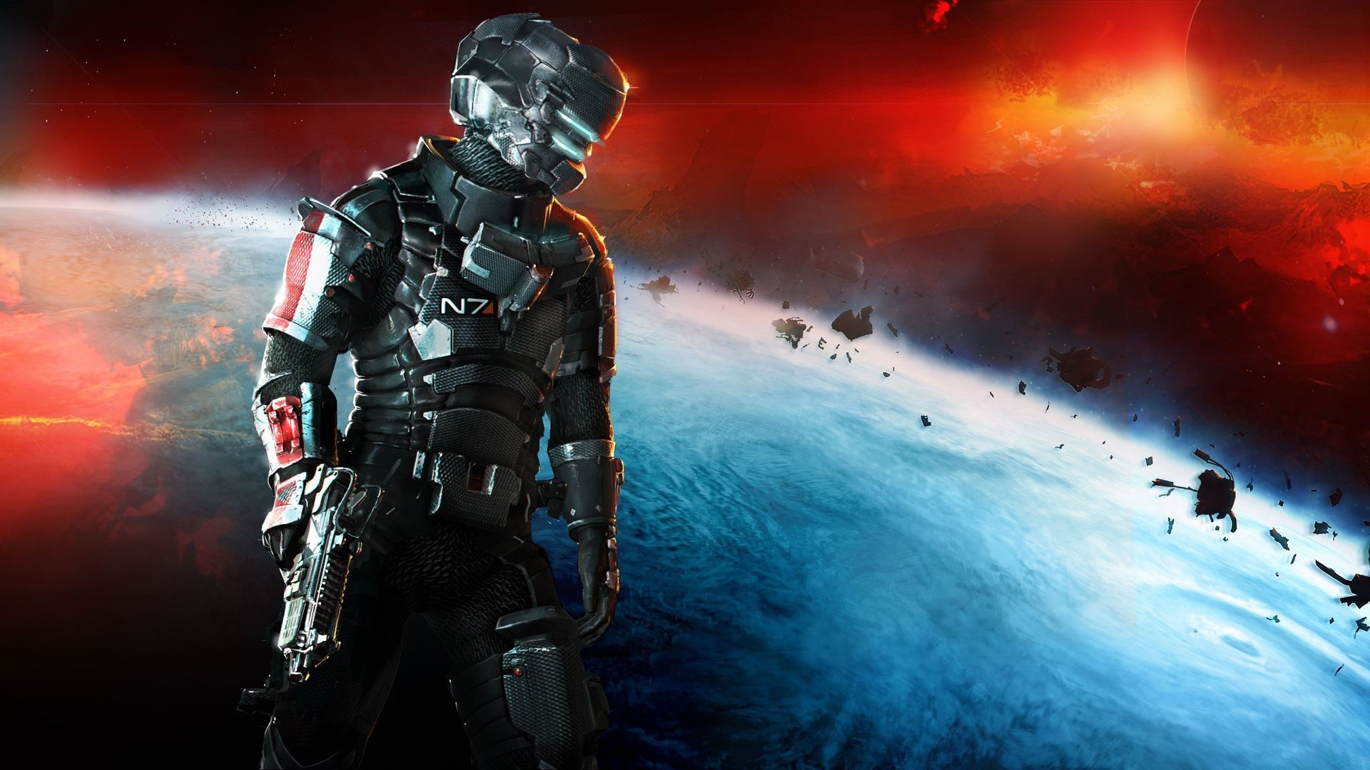 Fondos de pantalla Dead space 3 Mass Effect N7 armor