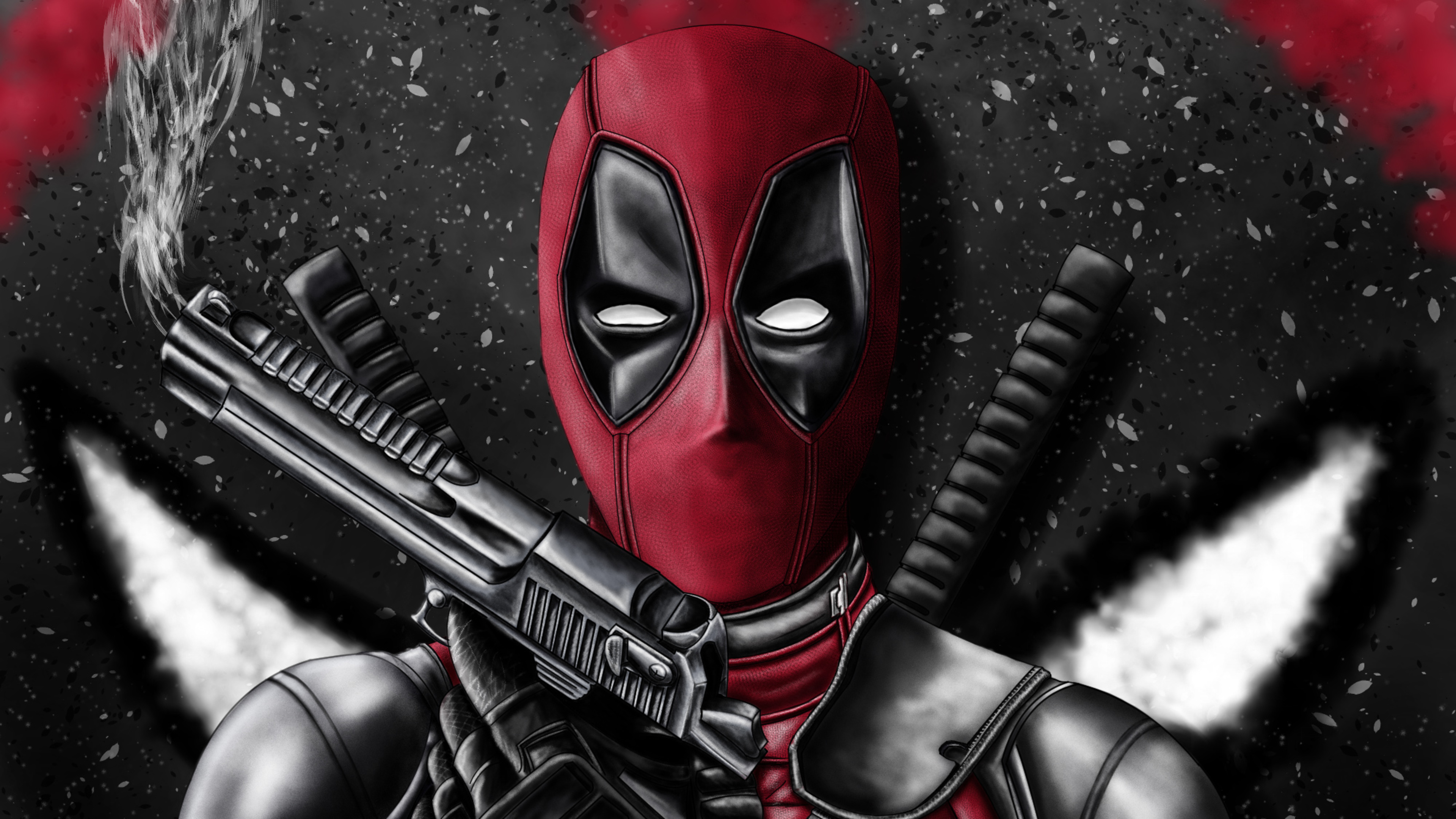 Wallpaper Deadpool with weapons